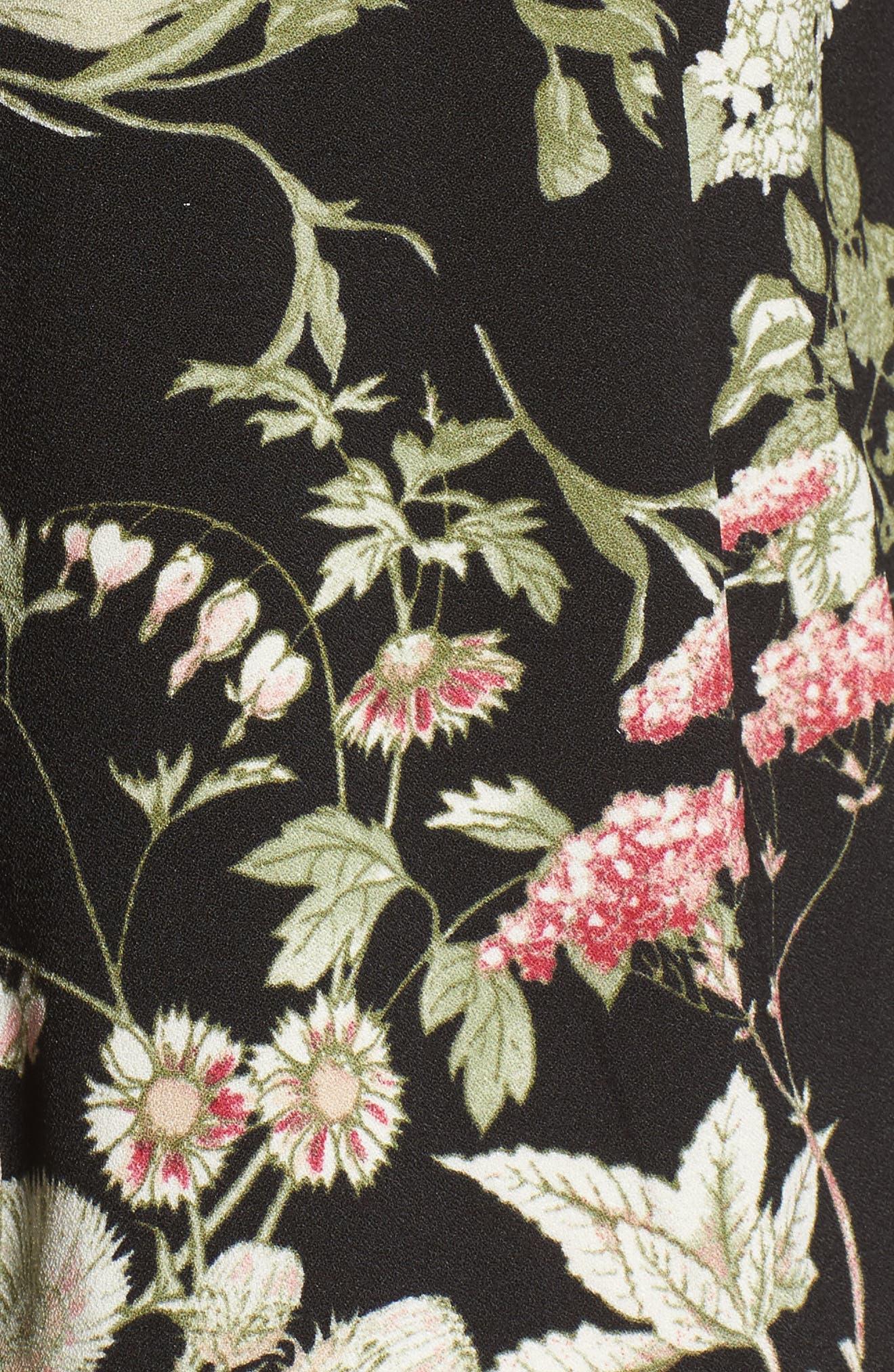 Print Wide Leg Jumpsuit,                             Alternate thumbnail 5, color,                             Black Floral
