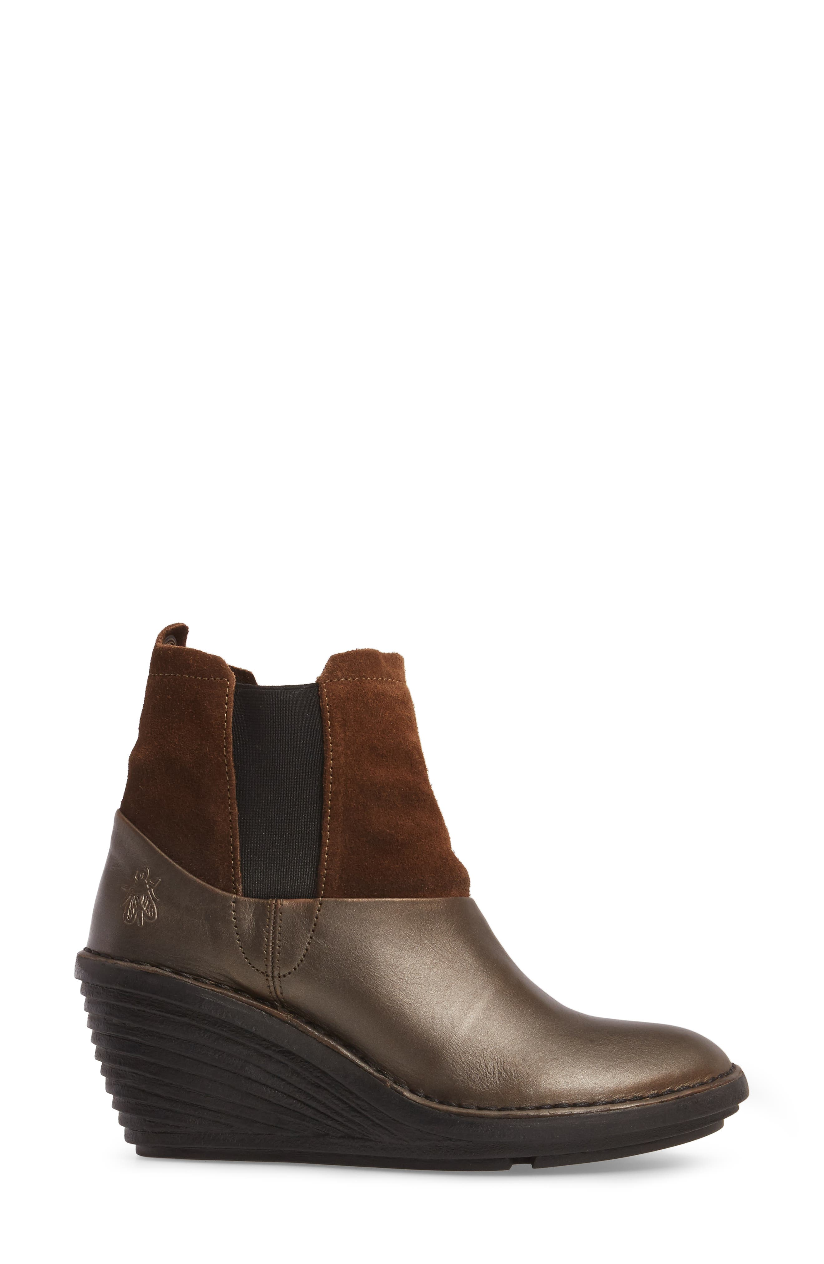 Sula Wedge Bootie,                             Alternate thumbnail 3, color,                             Olive/ Camel Suede