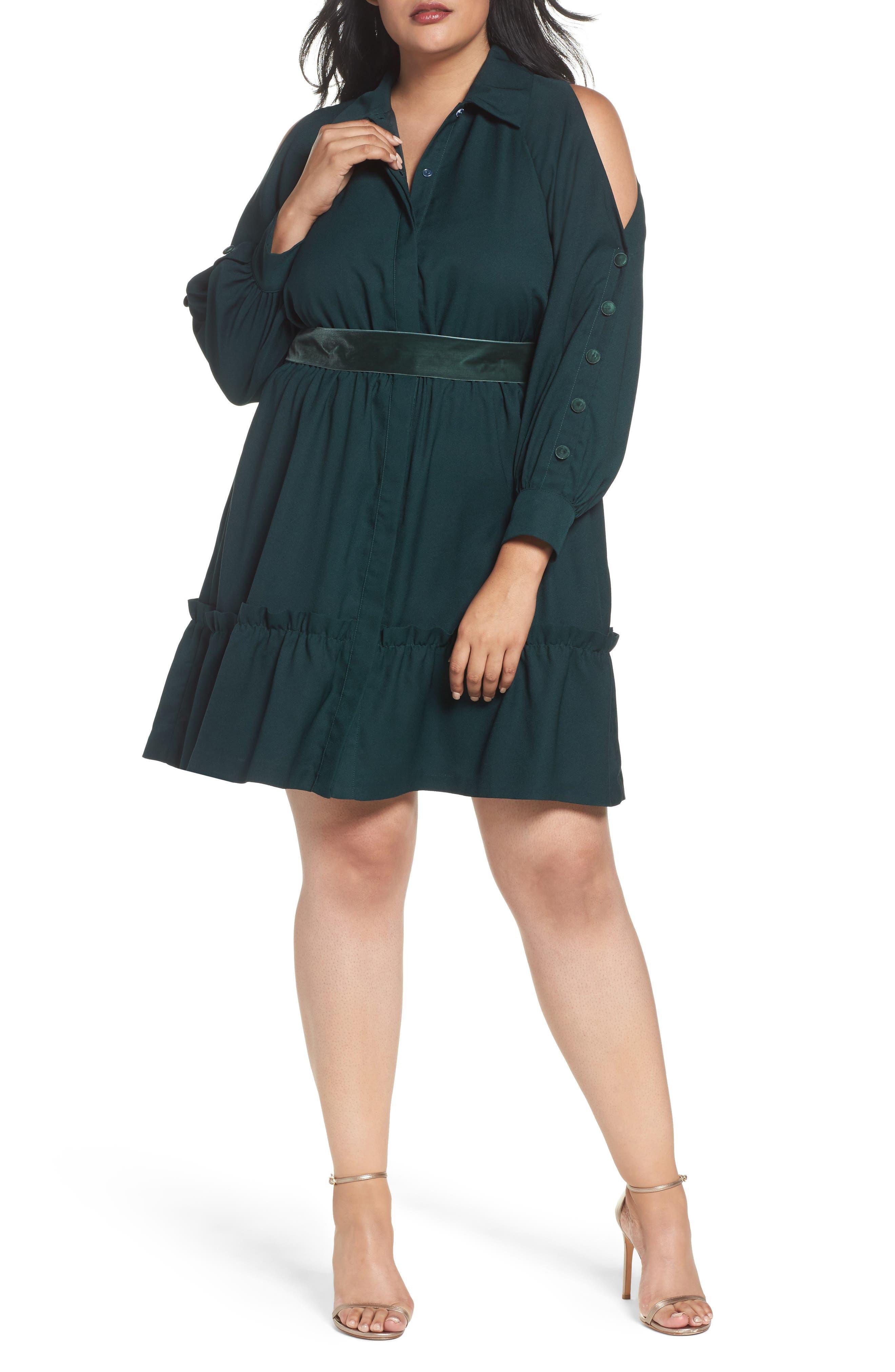 Cold Shoulder Shirtdress,                         Main,                         color, Green
