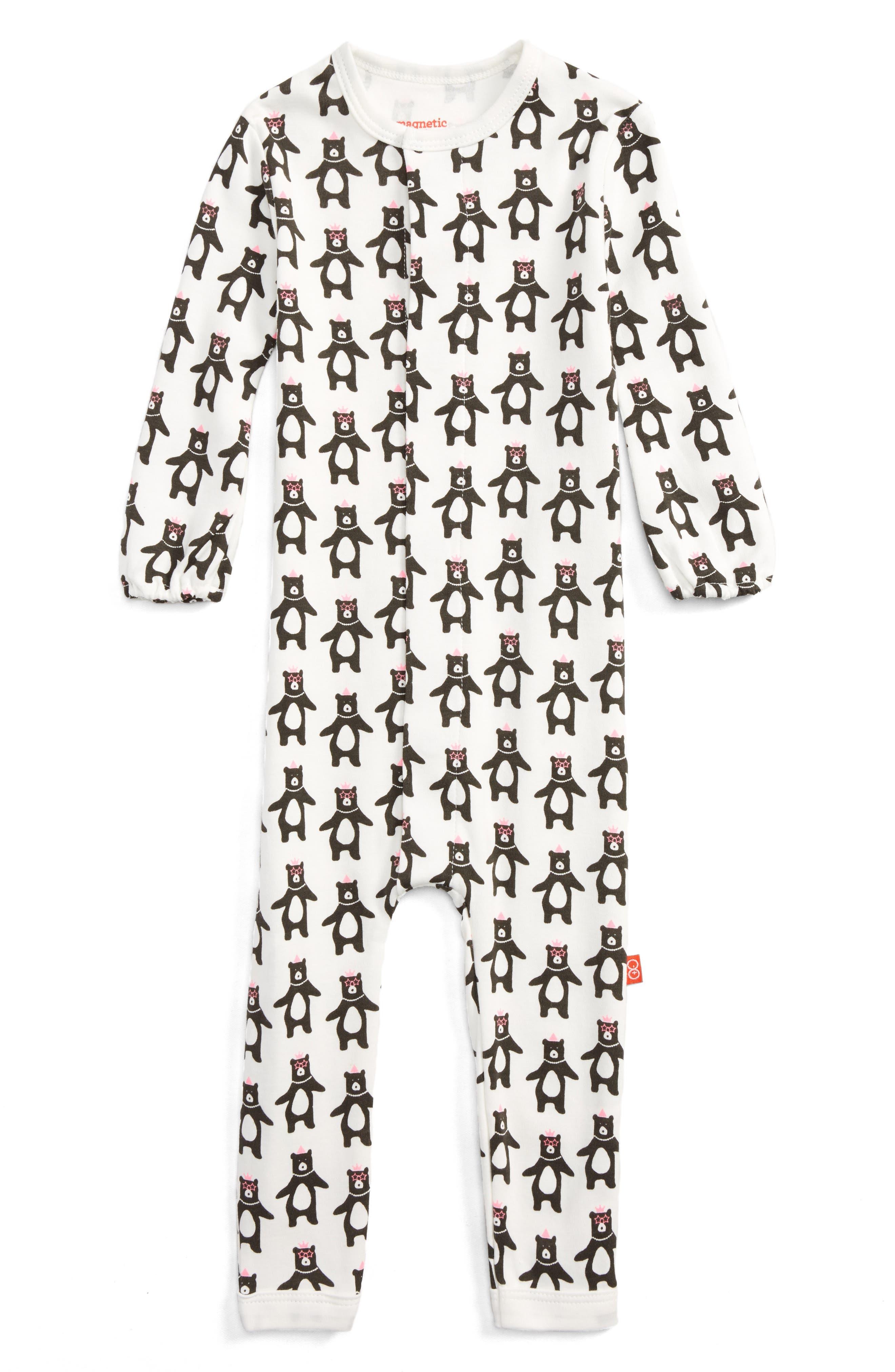 Alternate Image 1 Selected - Magnetic Me Print Romper (Baby Girls)