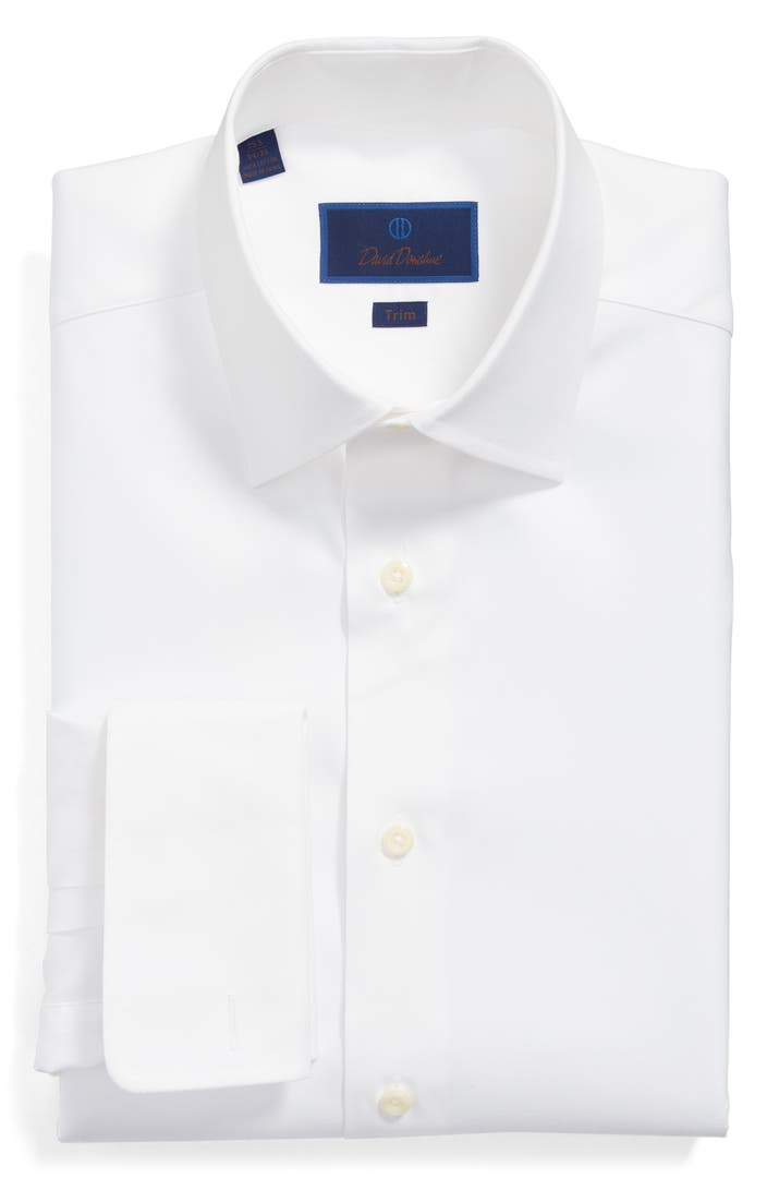 David donahue trim fit solid french cuff dress shirt for David donahue french cuff shirts