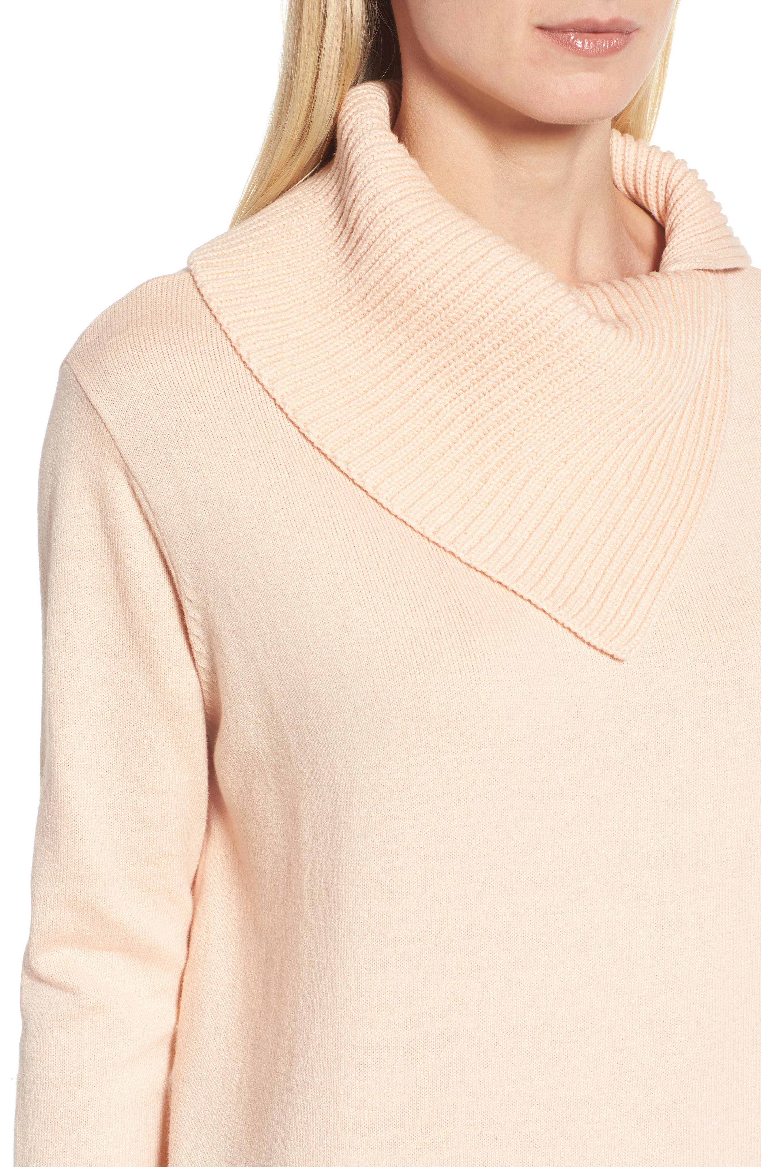 Cowl Neck Sweater,                             Alternate thumbnail 4, color,                             Blush
