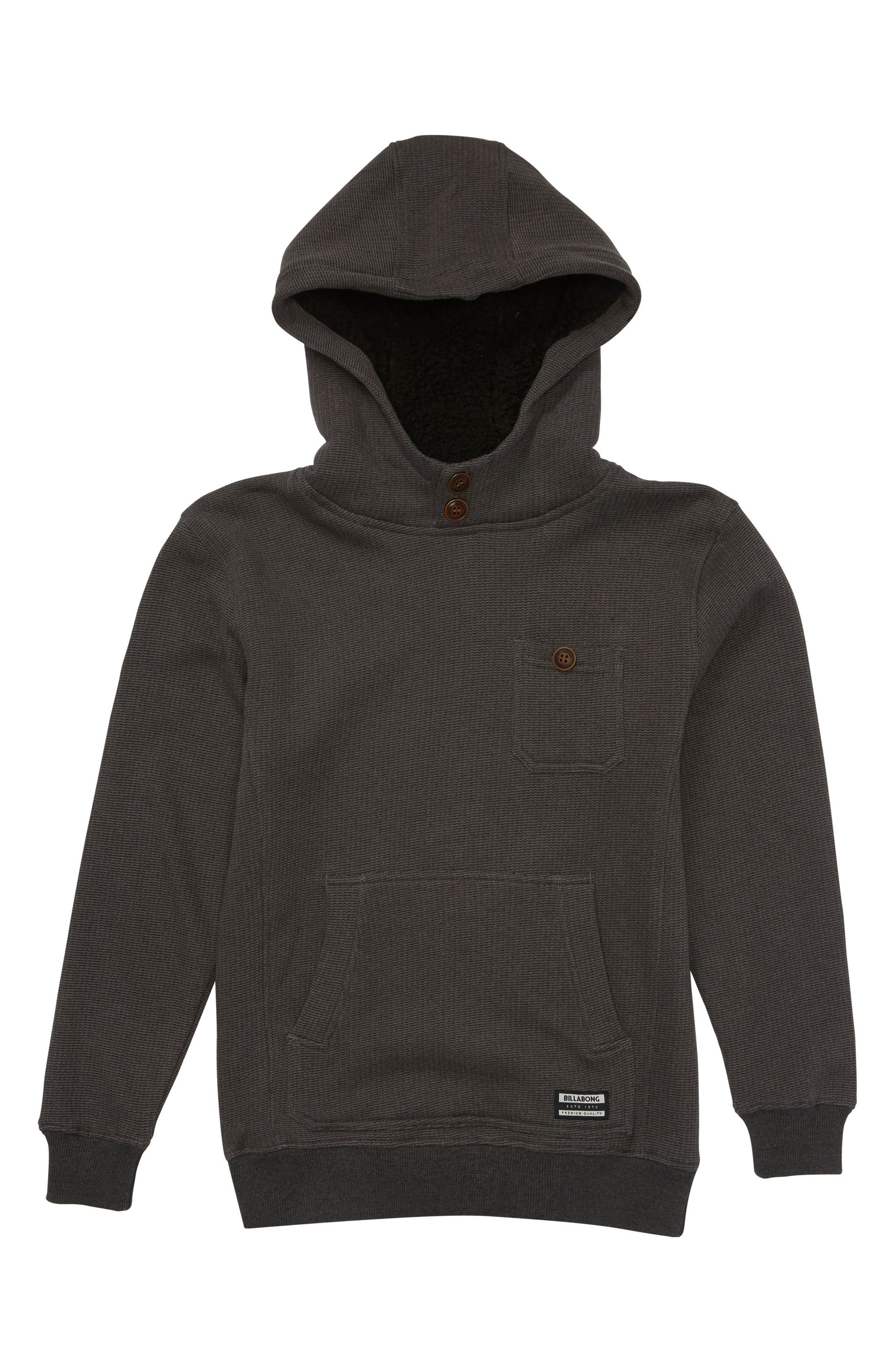 Hudson Woven Button Pullover Hoodie,                             Main thumbnail 1, color,                             Black