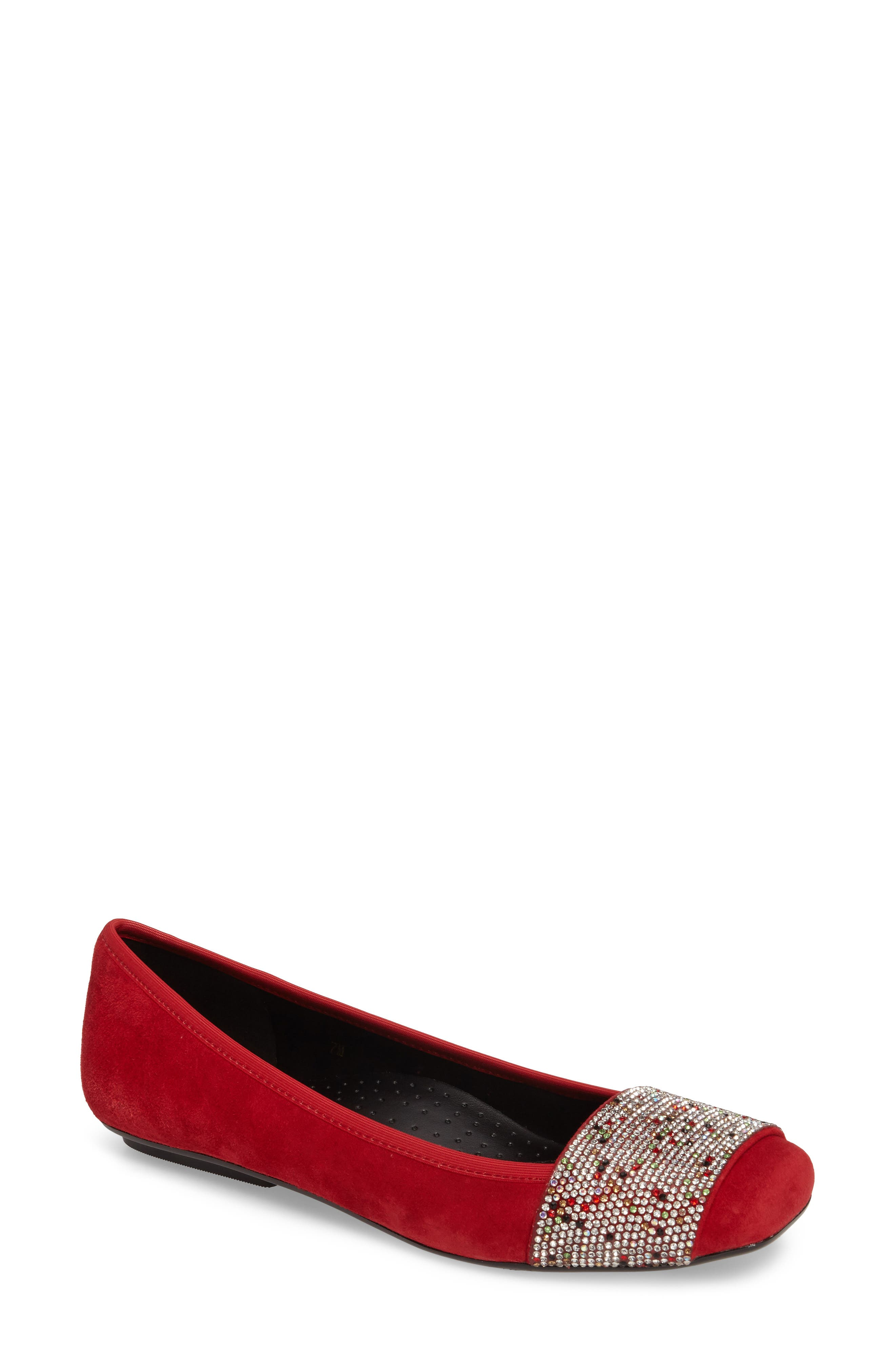 Nabila Embellished Ballet Flat,                             Main thumbnail 1, color,                             Red Suede