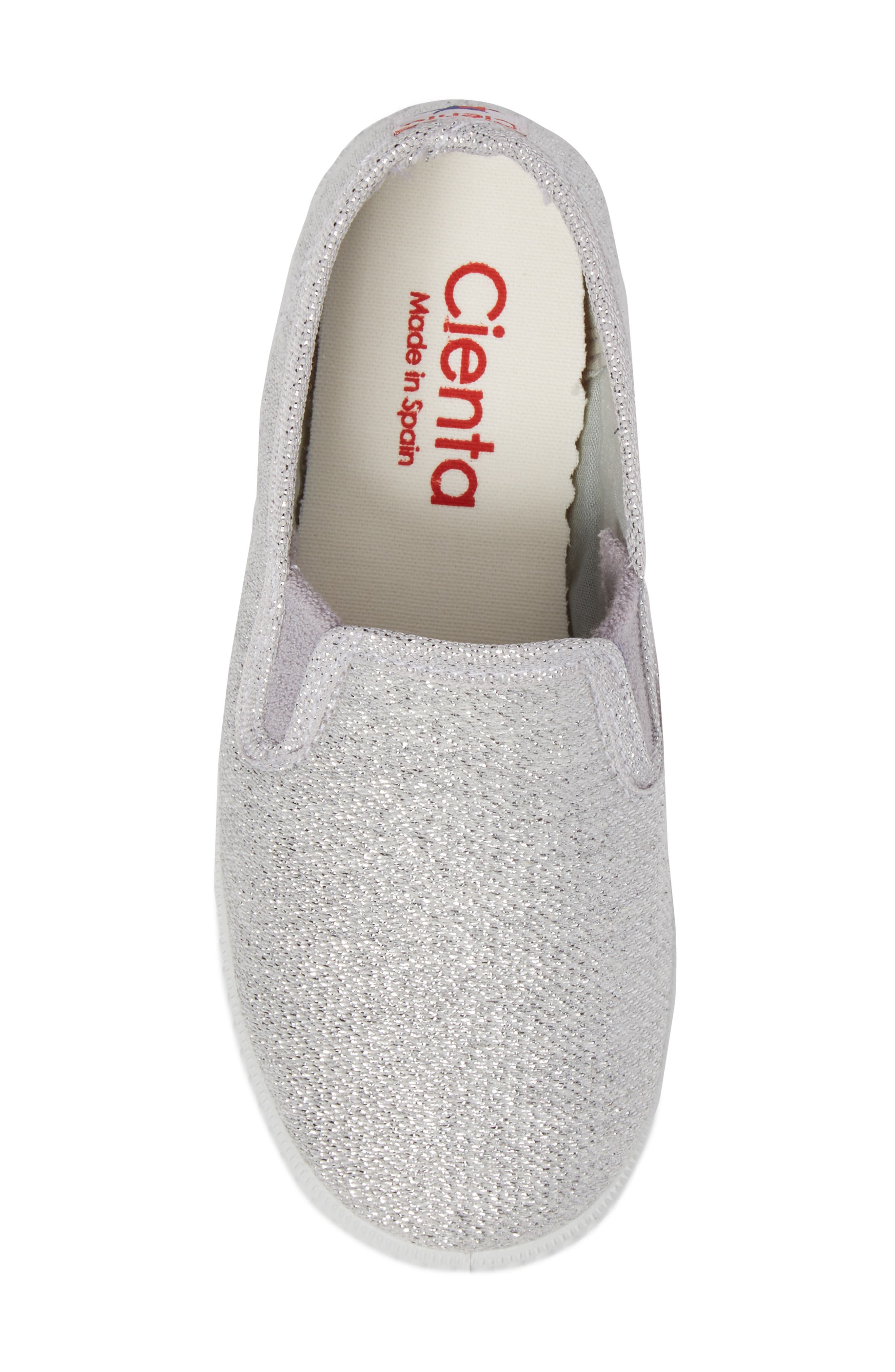 Glitter Slip-On Sneaker,                             Alternate thumbnail 5, color,                             Silver