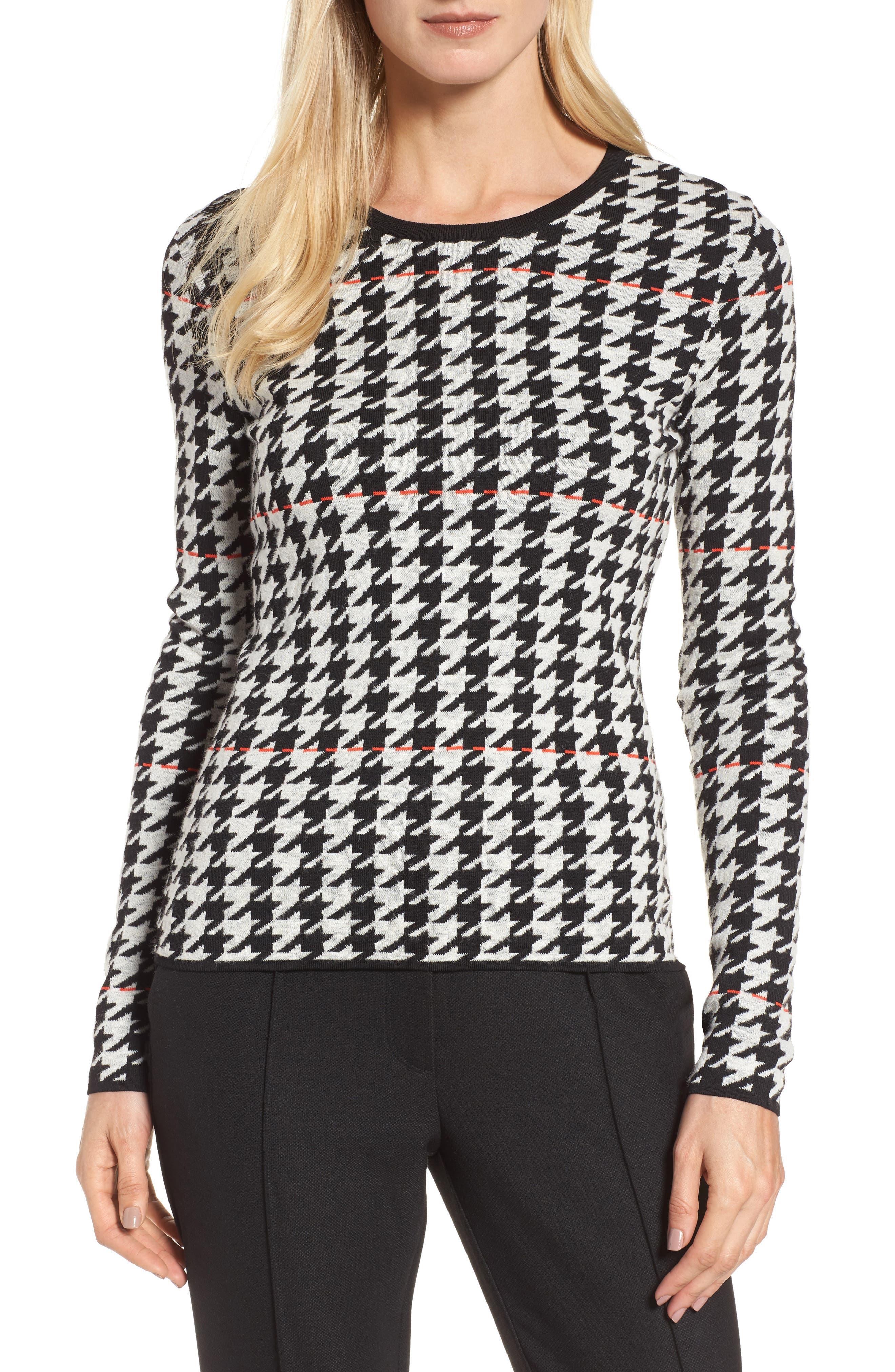 Fatma Houndstooth Sweater,                         Main,                         color, Black Fantasy