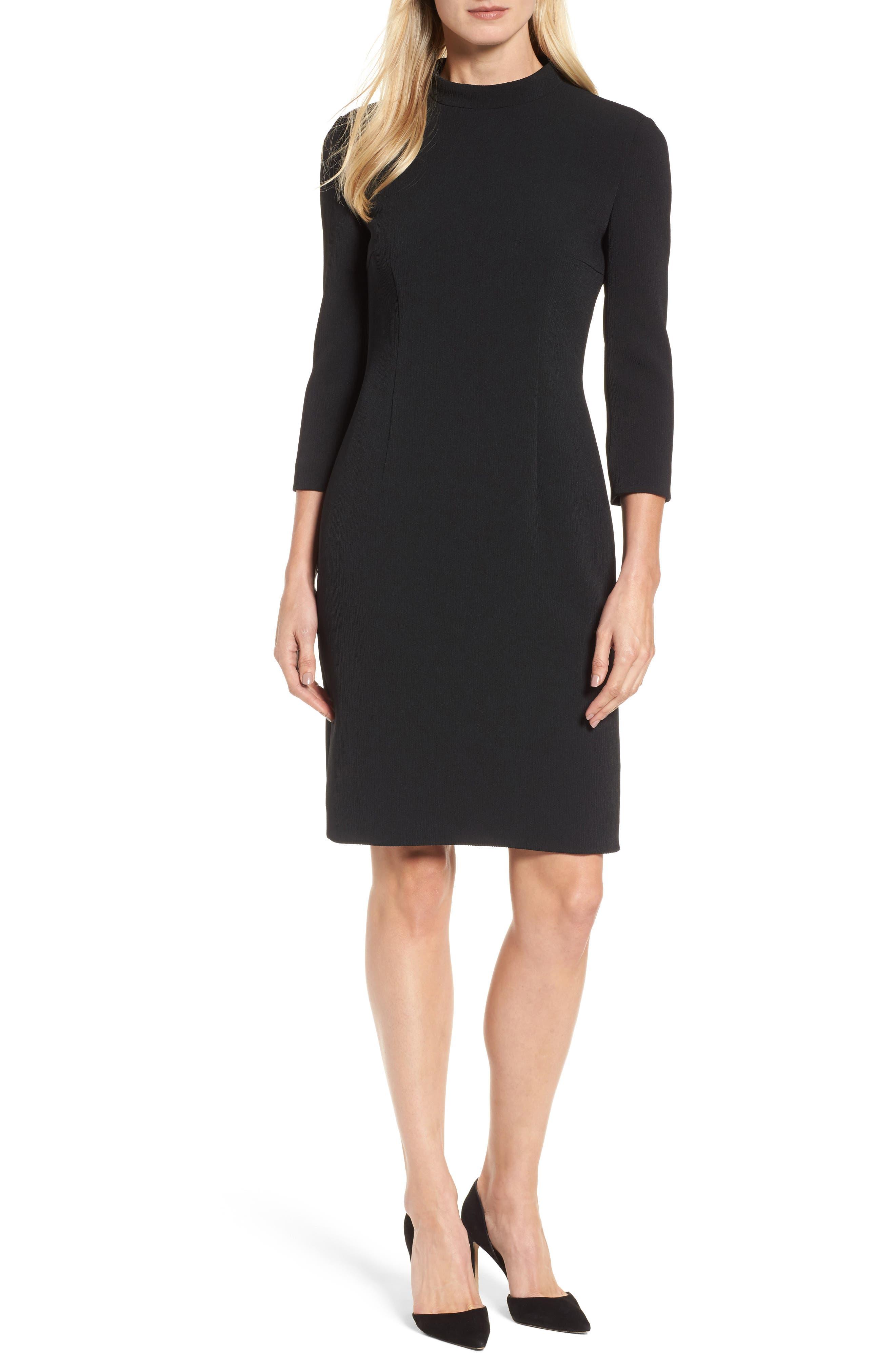 Dadena Crepe Sheath Dress,                         Main,                         color, Black