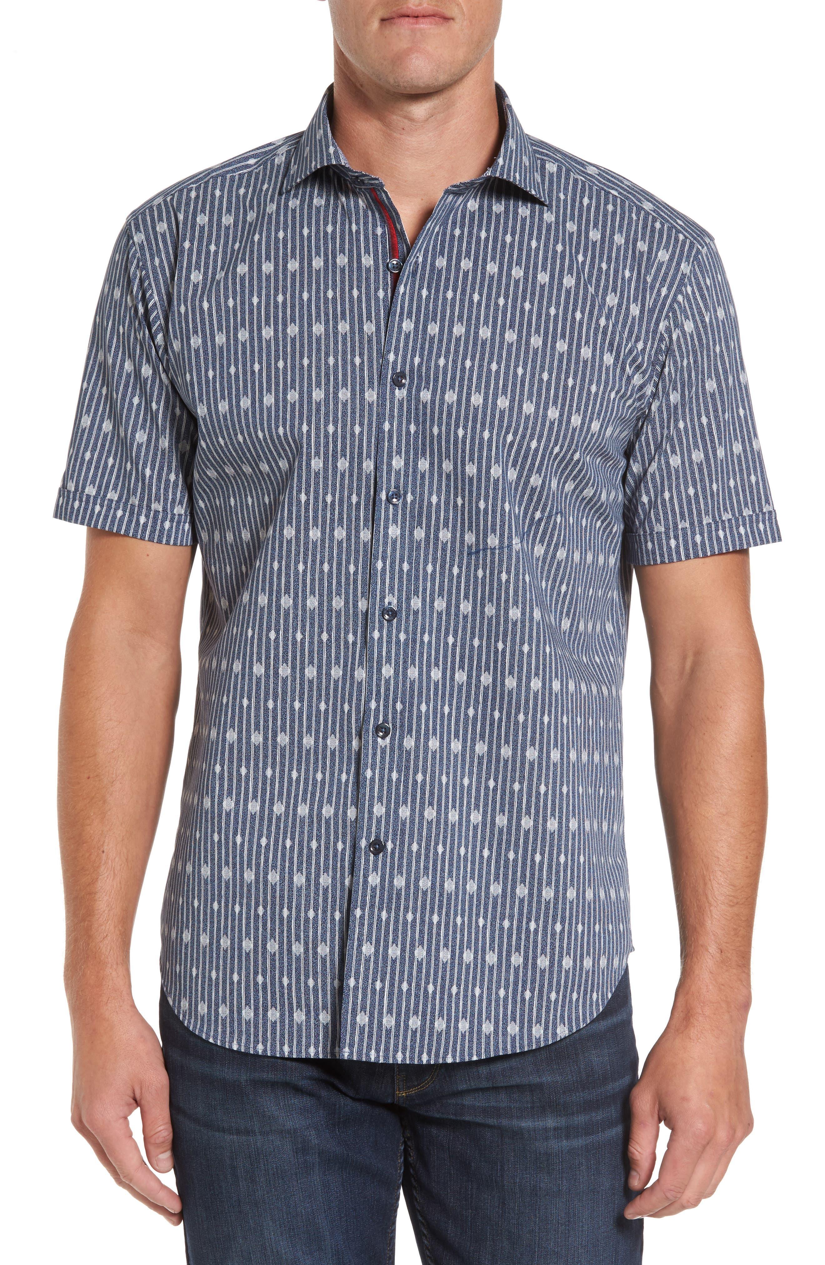 Main Image - Bugatchi Shaped Fit Diamond Stripe Print Sport Shirt