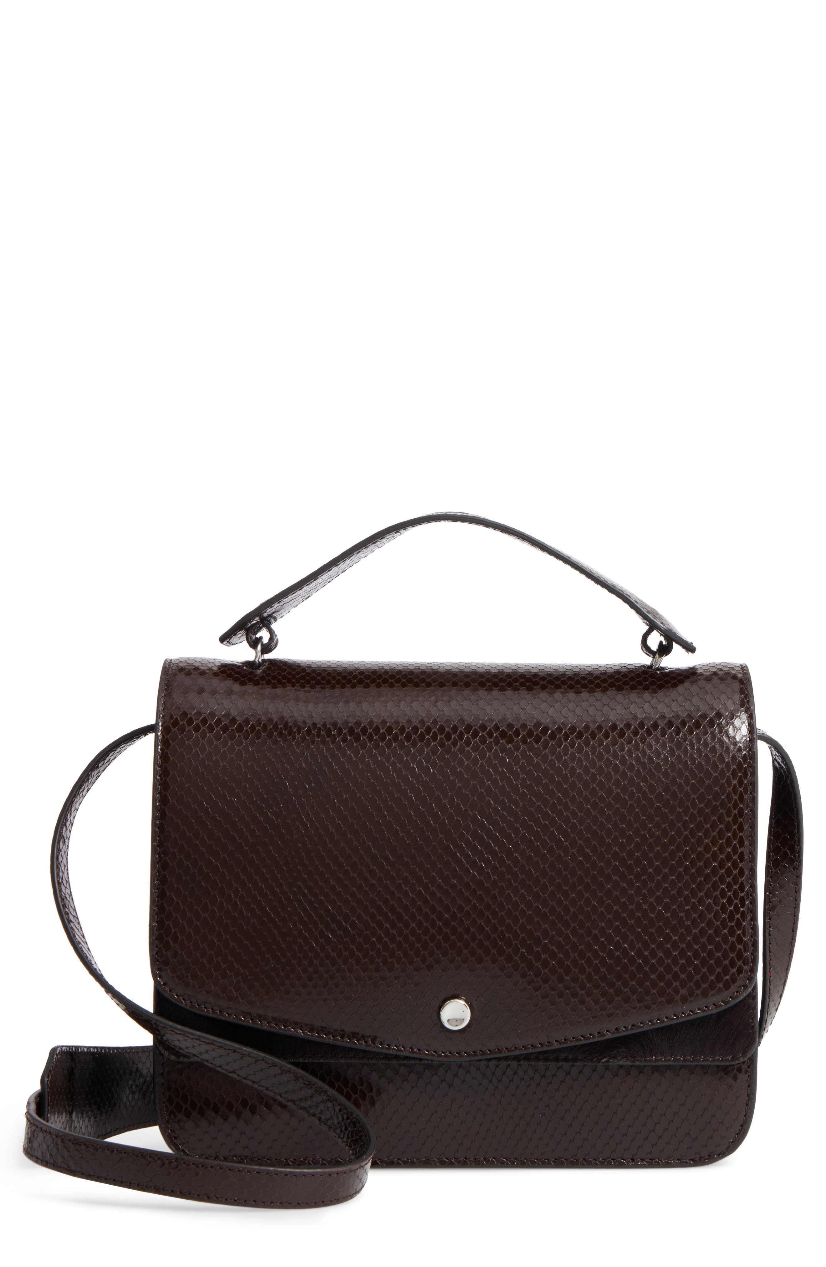 Eloise Genuine Calf Hair & Leather Shoulder Bag,                             Main thumbnail 1, color,                             Chocolate