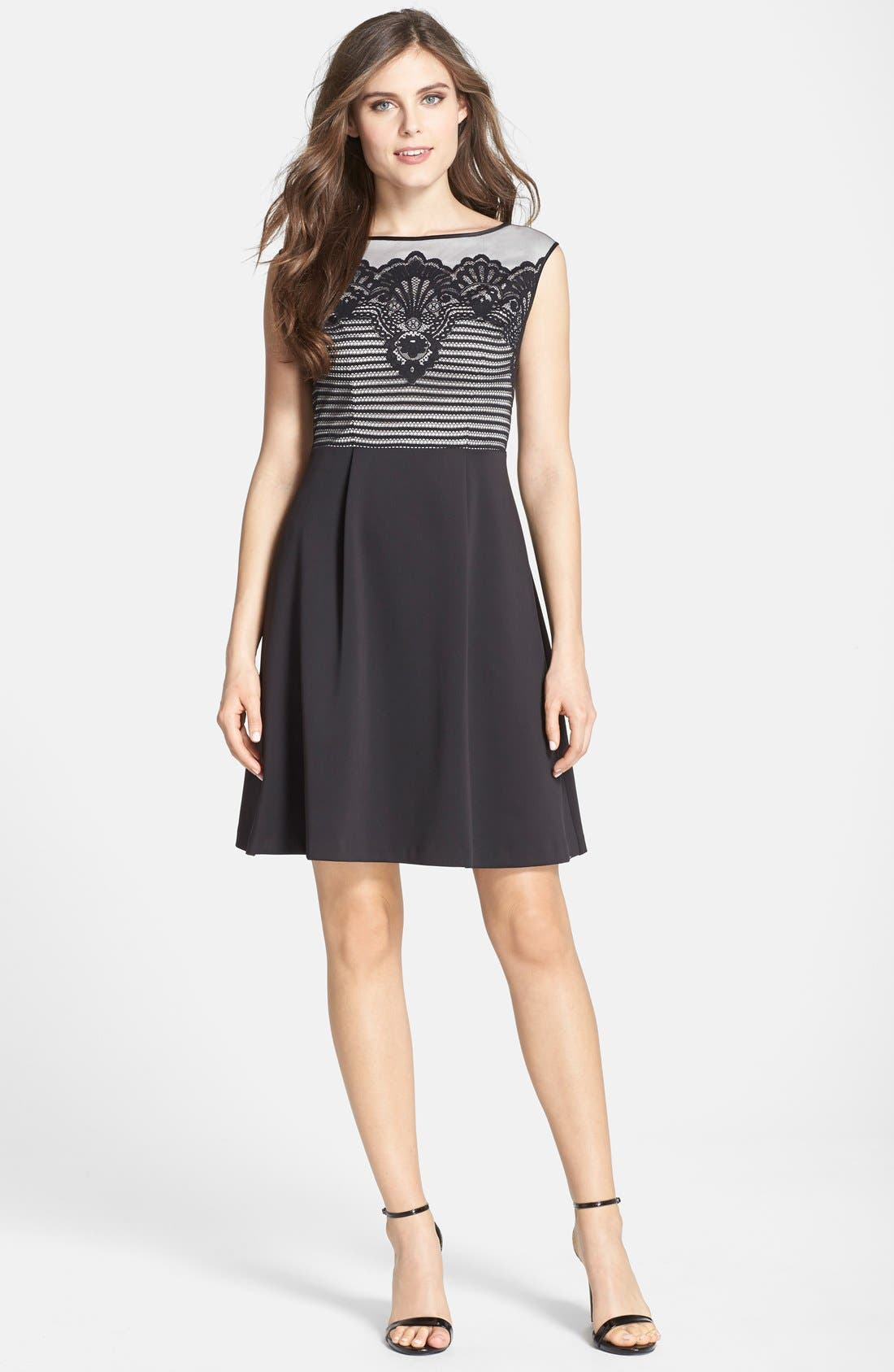 Alternate Image 3  - Adrianna Papell Lace Overlay Fit & Flare Dress