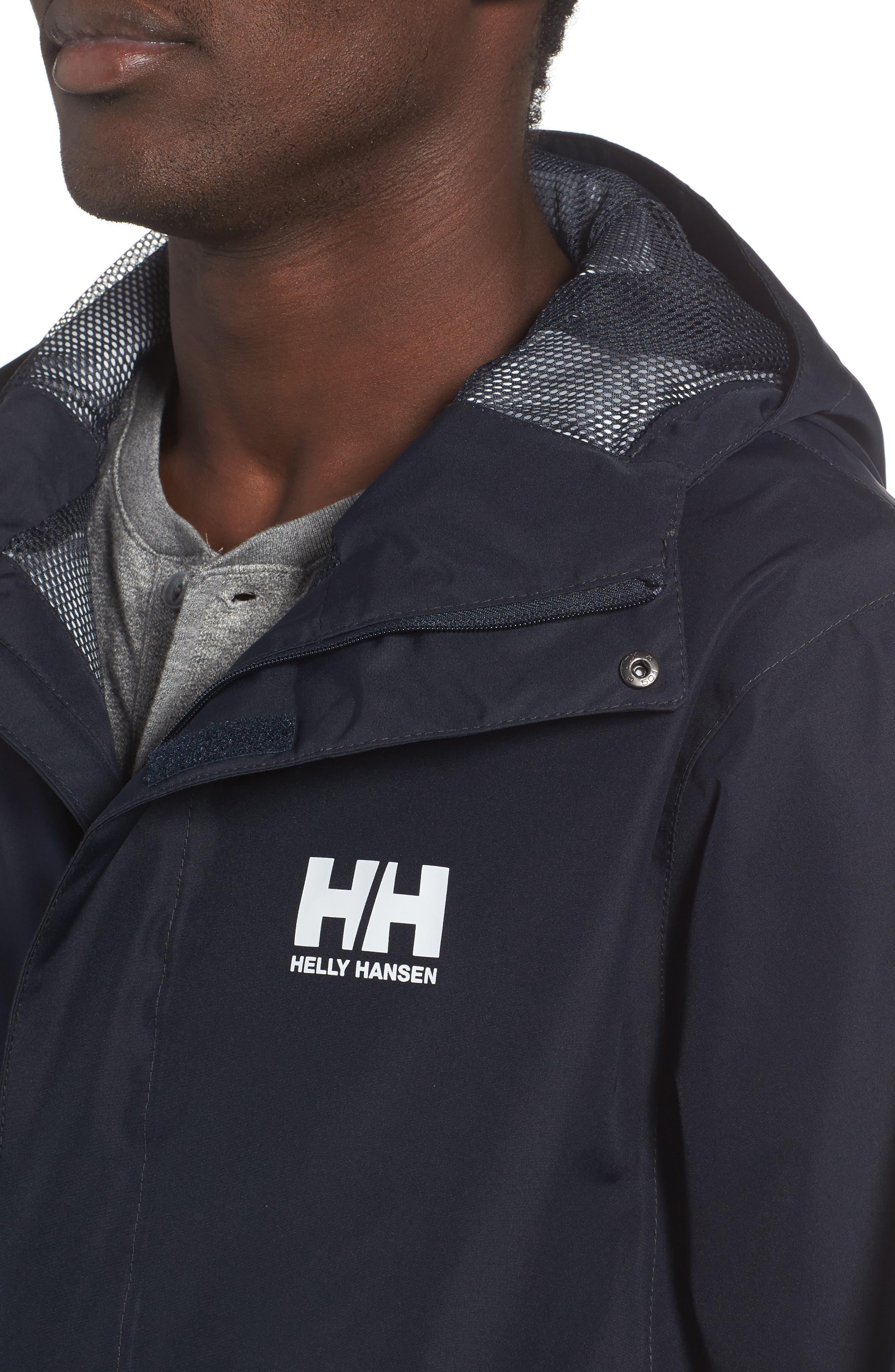 'Seven J' Waterproof & Windproof Jacket,                             Alternate thumbnail 4, color,                             Navy Blue