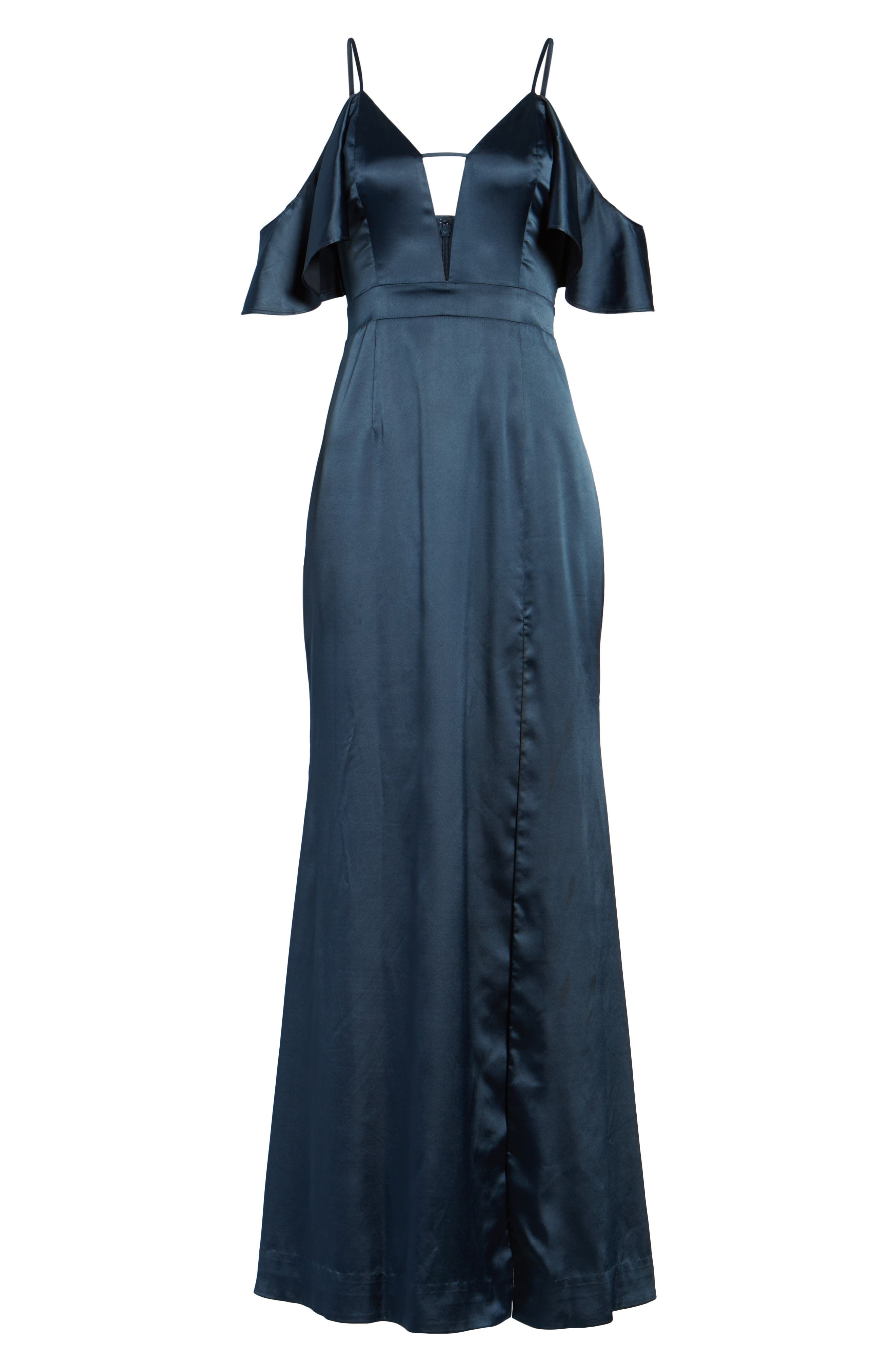 Niaa Cold Shoulder Gown,                             Alternate thumbnail 6, color,                             Navy