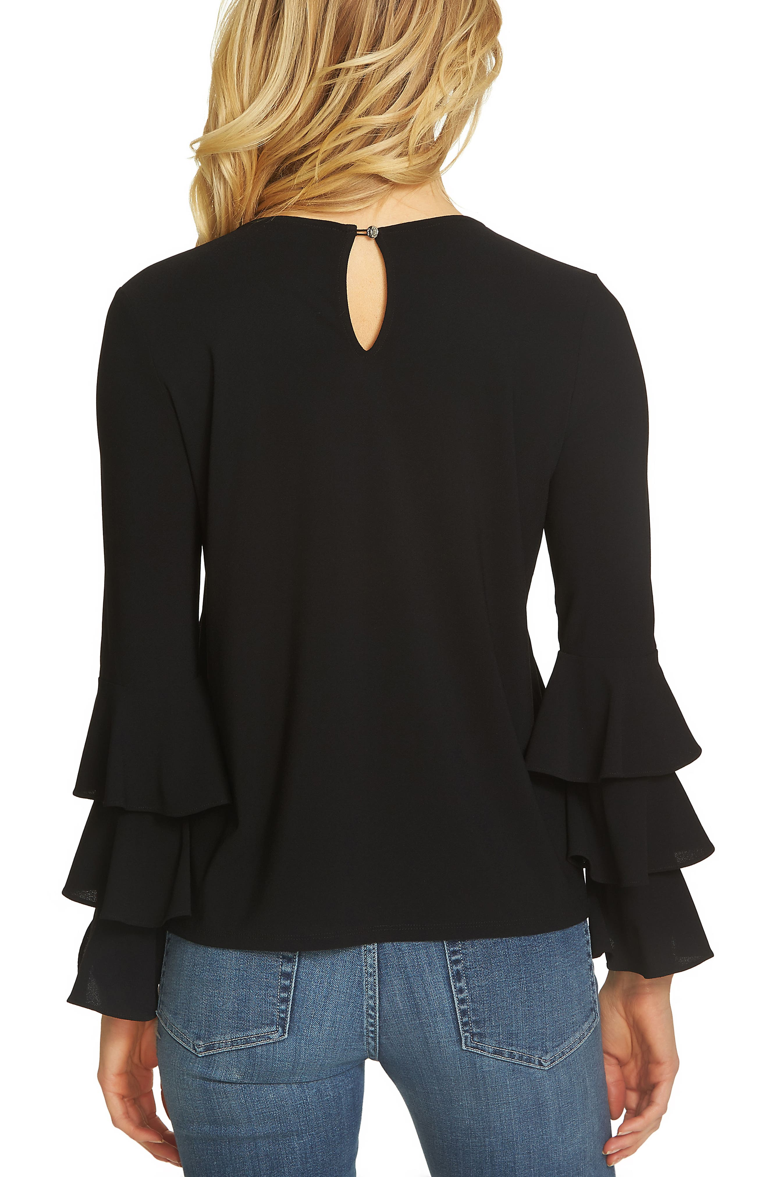 Tiered Bell Sleeve Top,                             Alternate thumbnail 2, color,                             Rich Black