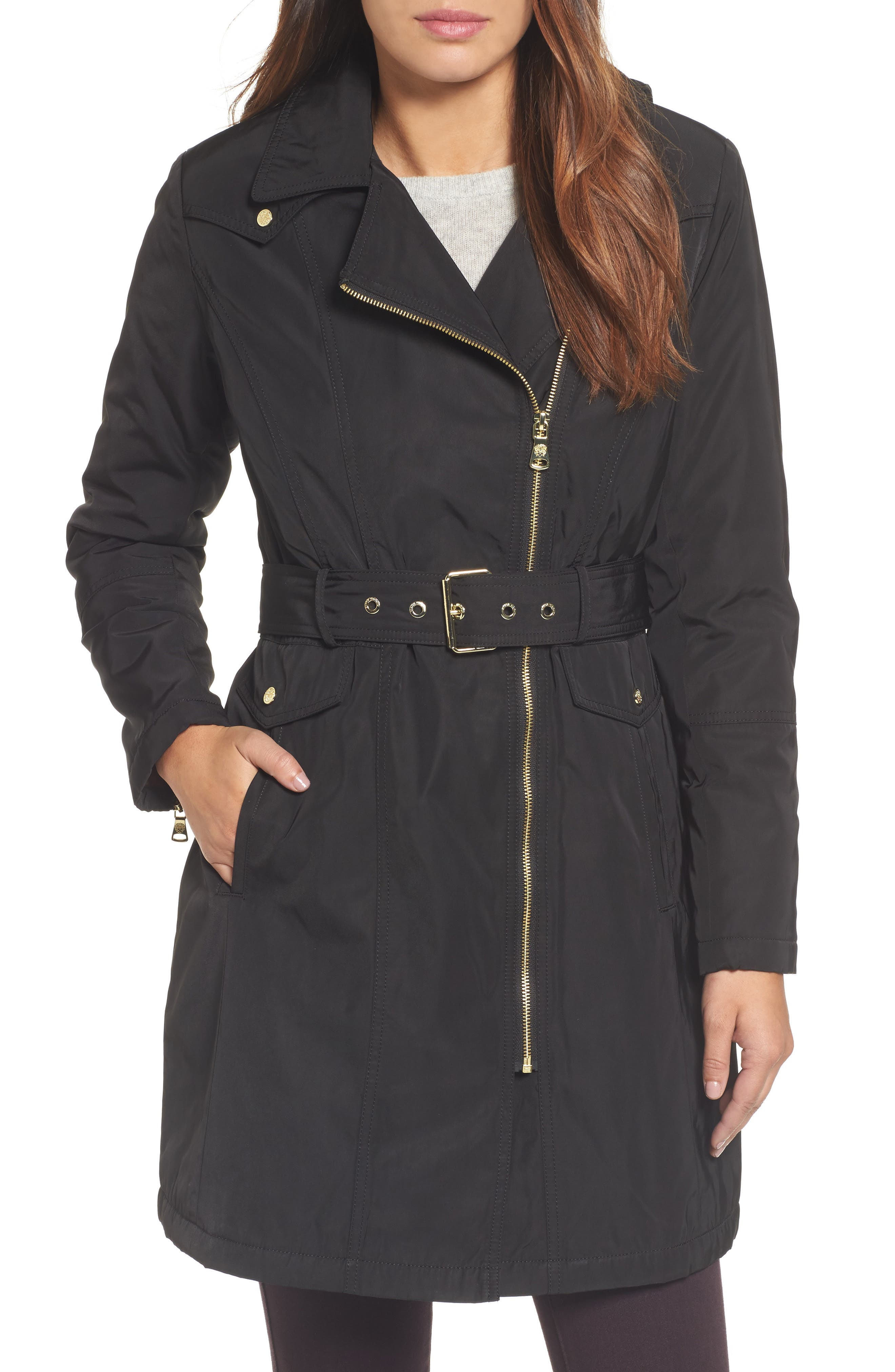 Belted Raincoat,                         Main,                         color, Black