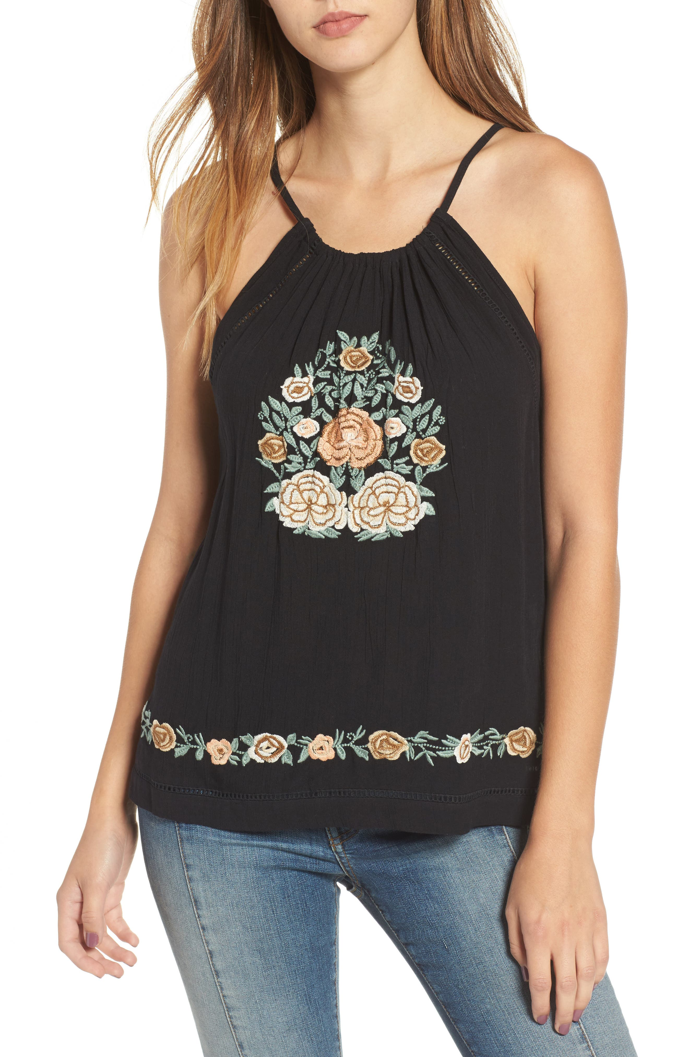 Band of Gypsies Floral Embroidered Tank
