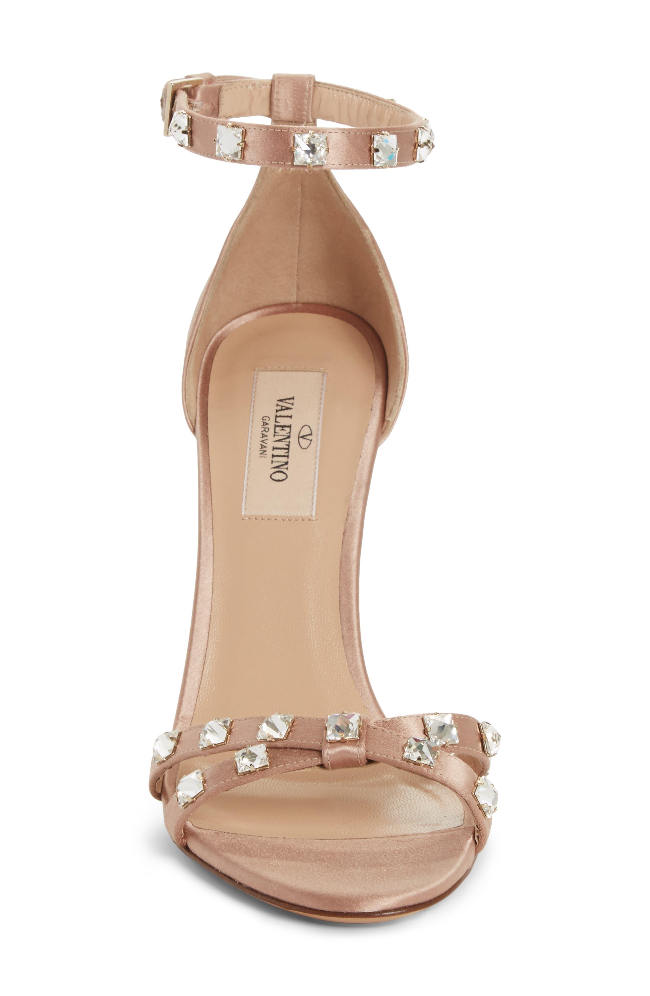 Rockstud Glam Ankle Strap Sandal,                             Alternate thumbnail 4, color,                             Beige