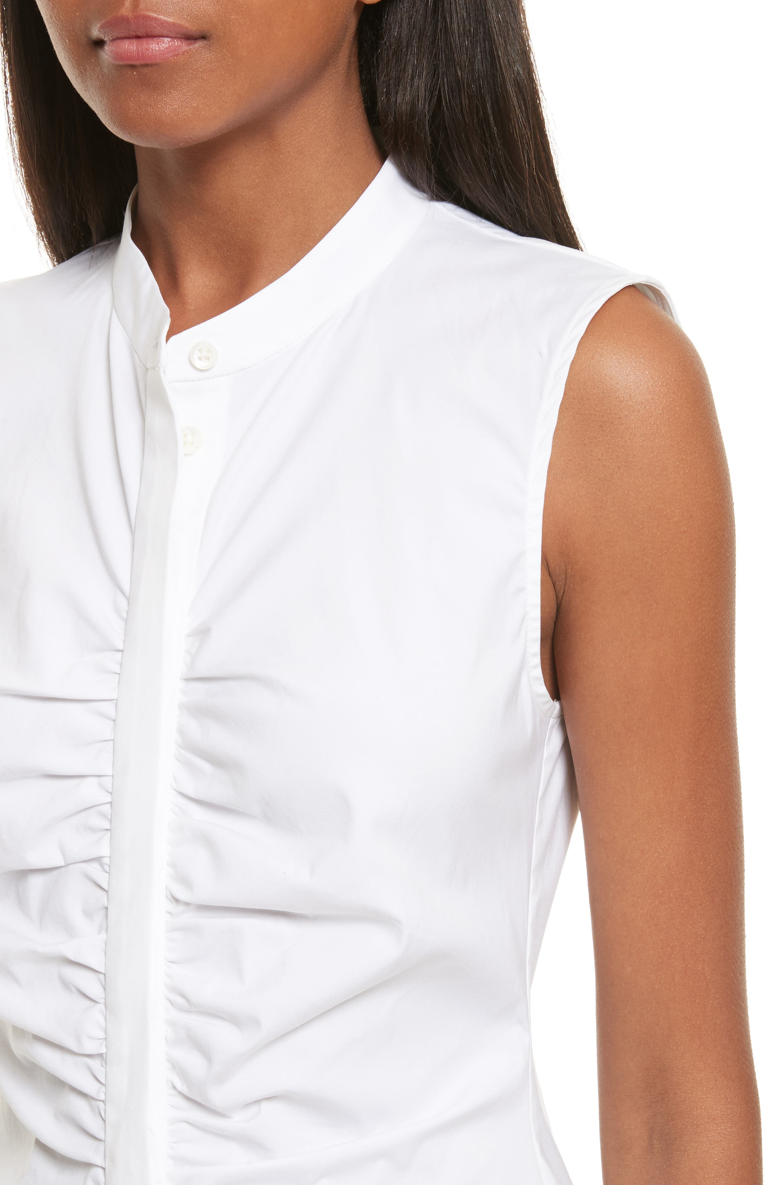 Ruched Fitted Stretch Cotton Blouse,                             Alternate thumbnail 4, color,                             White