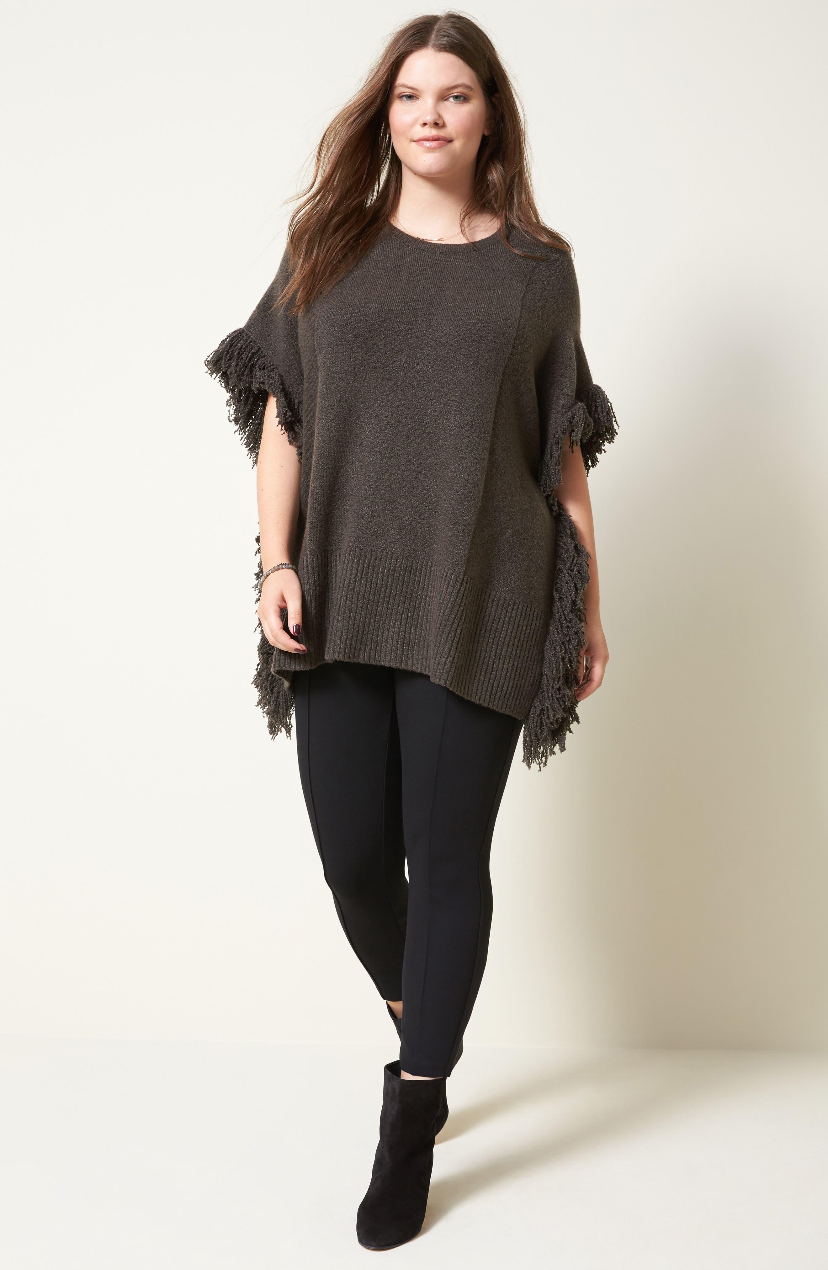Alternate Image 2  - Sejour Fringe Poncho Sweater (Plus Size)