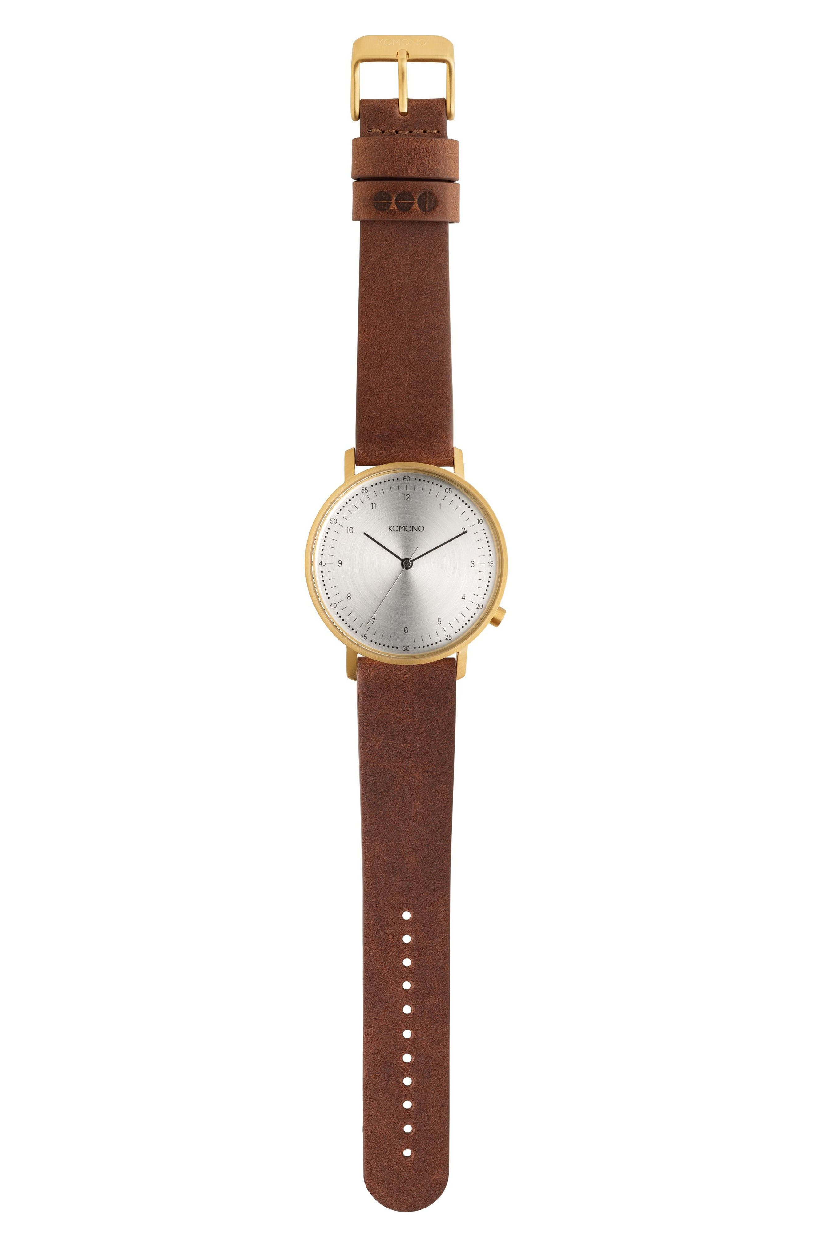 Lewis Leather Strap Watch, 40mm,                         Main,                         color, Silver/ Saddle Brown