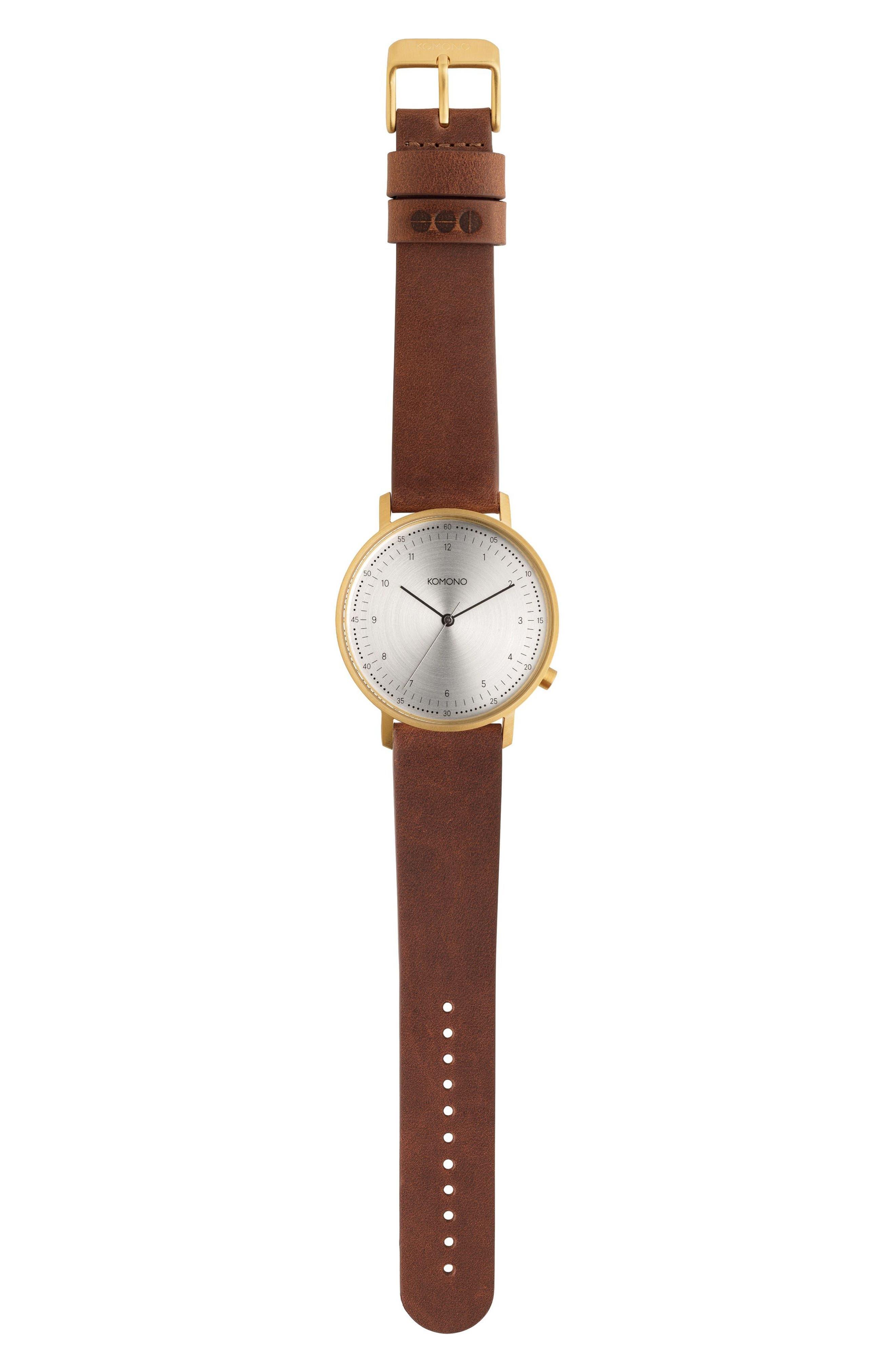 Komono Lewis Leather Strap Watch, 40mm