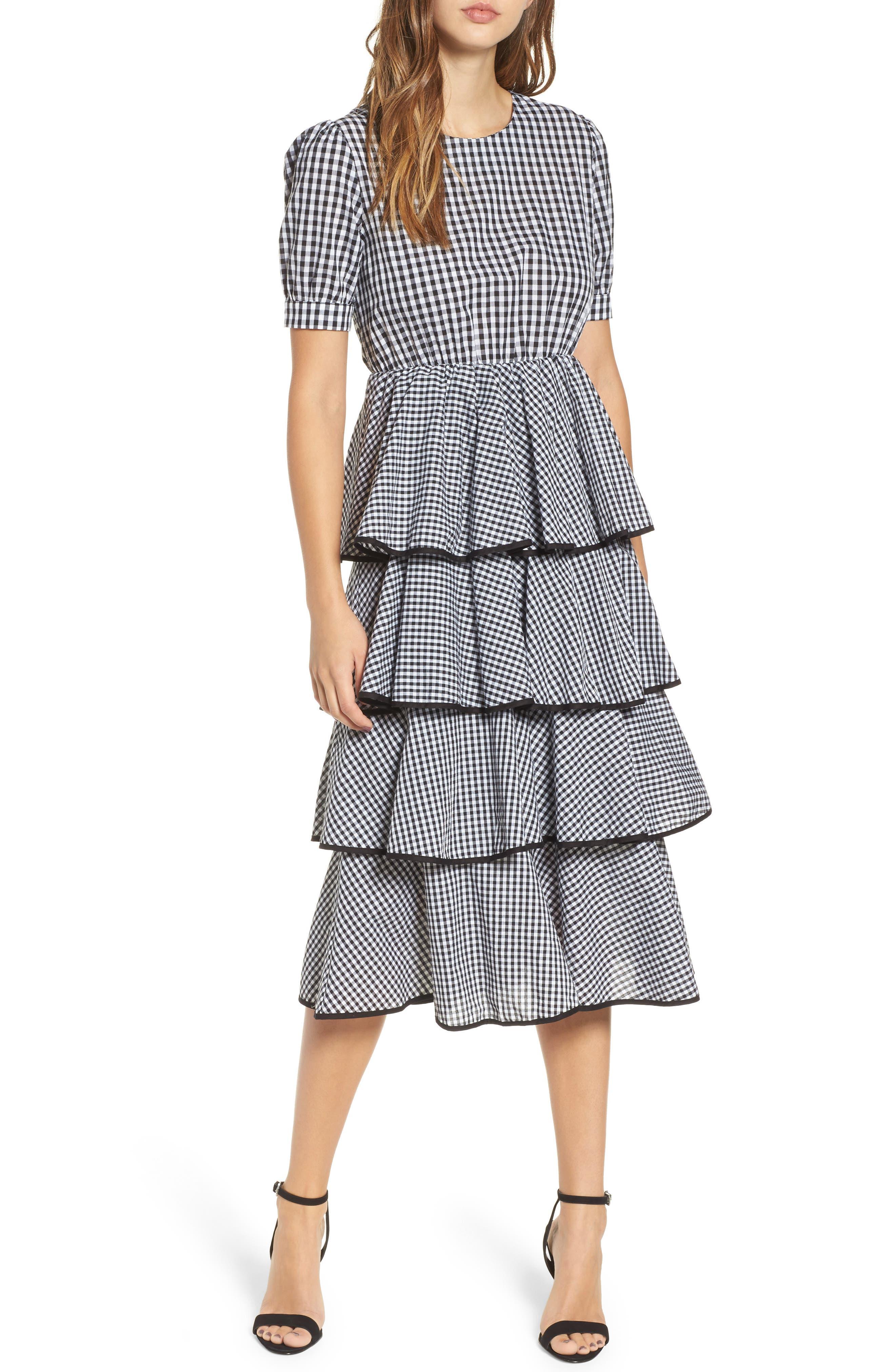 Beauty Buzz Midi Dress,                         Main,                         color, Checkered Black