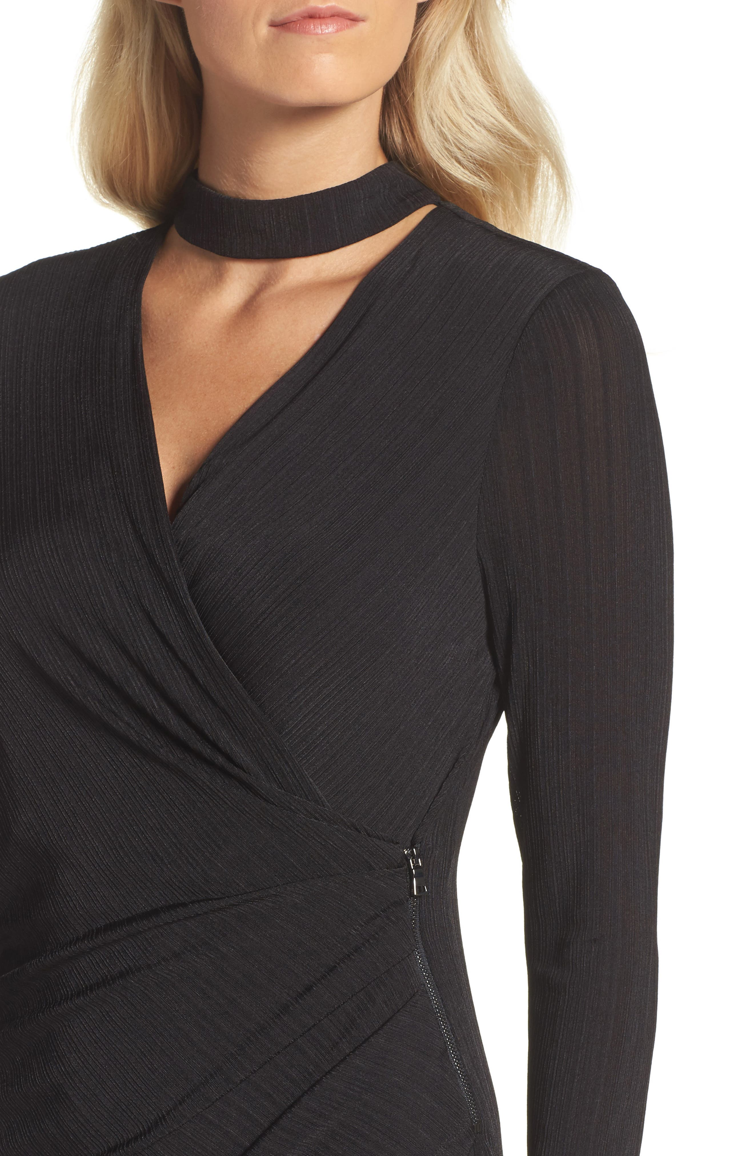 Choker Neck Asymmetric Dress,                             Alternate thumbnail 4, color,                             Black