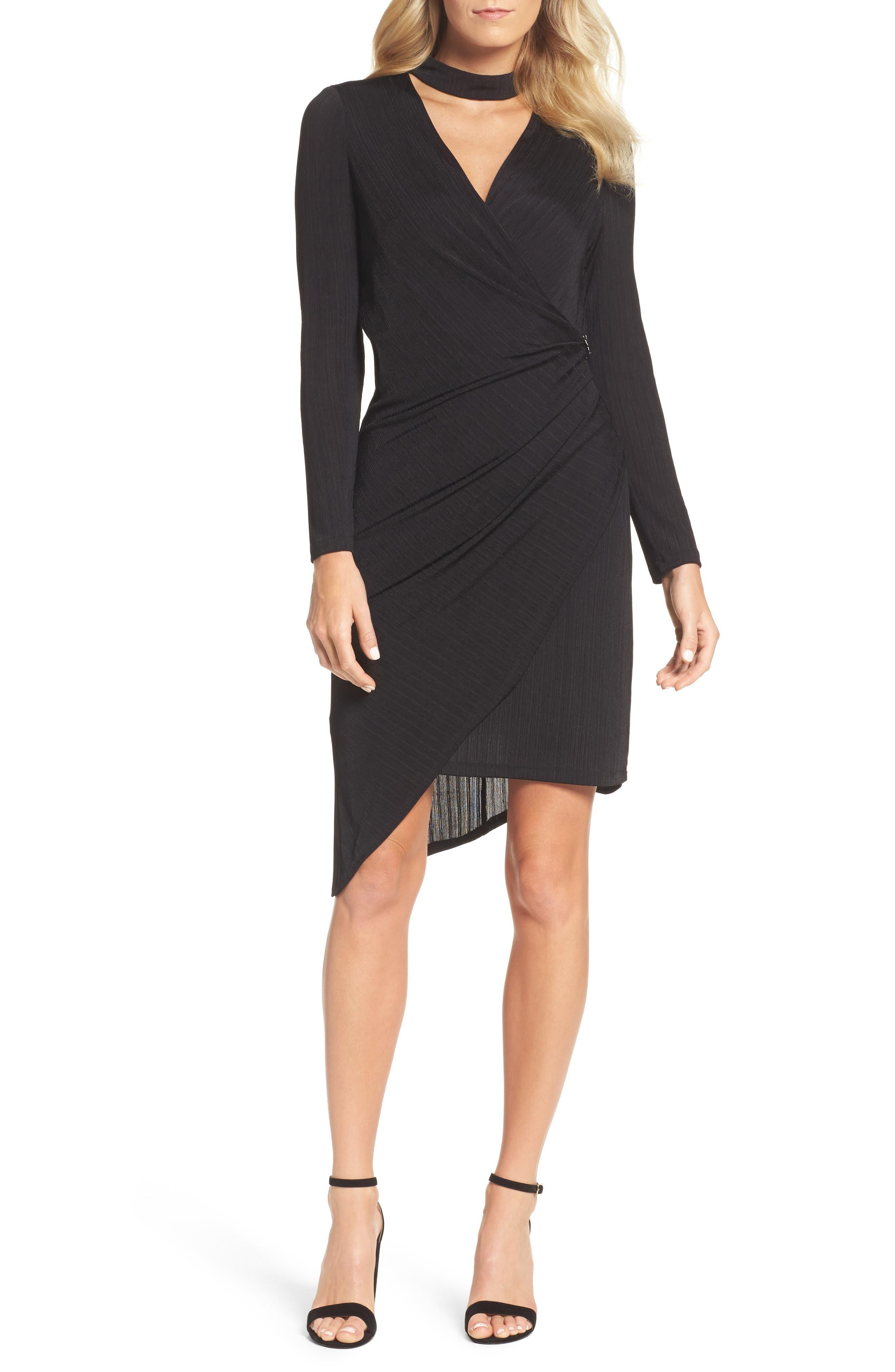 Choker Neck Asymmetric Dress,                             Main thumbnail 1, color,                             Black