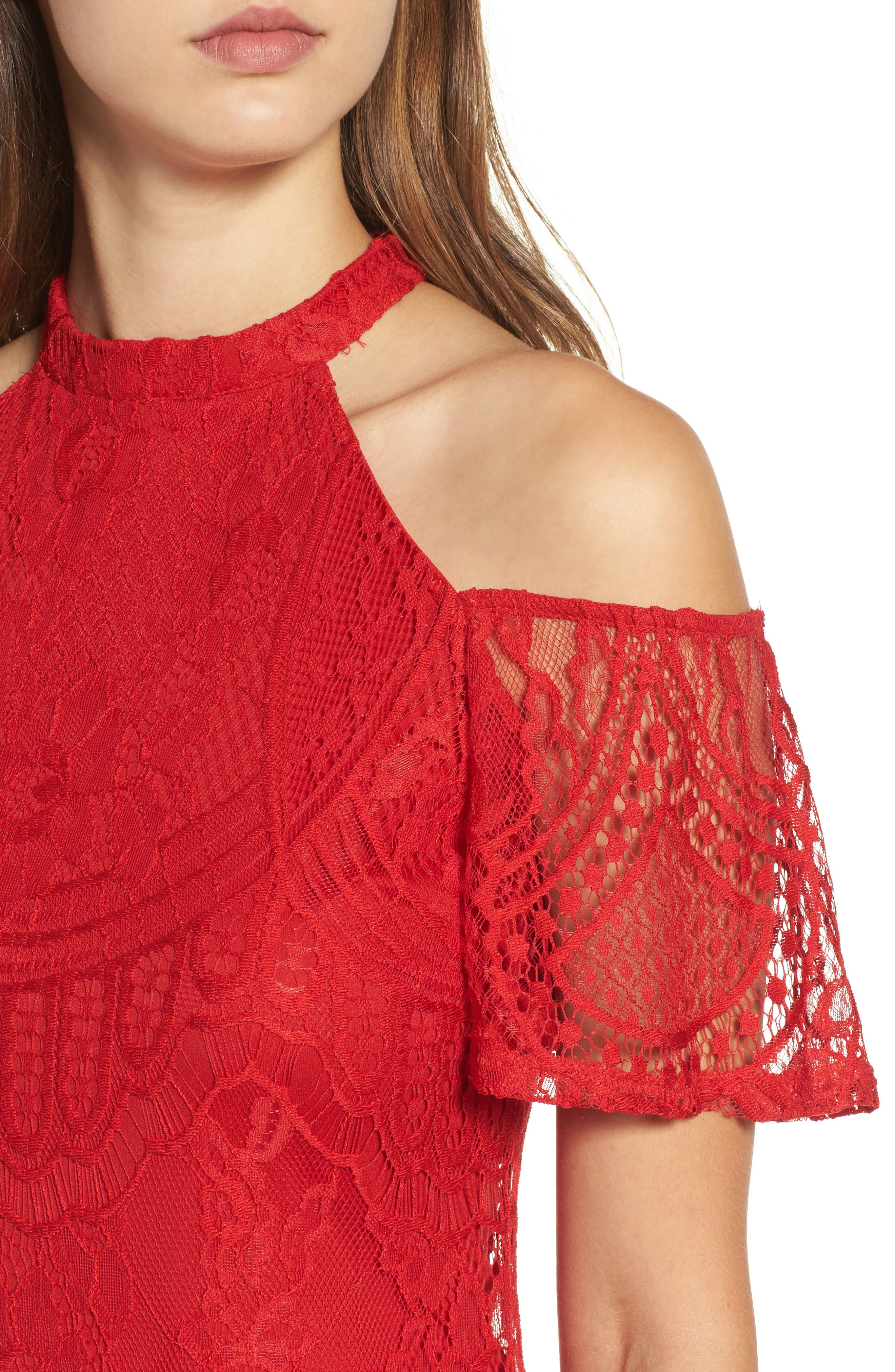 Lace Cold Shoulder Dress,                             Alternate thumbnail 4, color,                             Holly Red