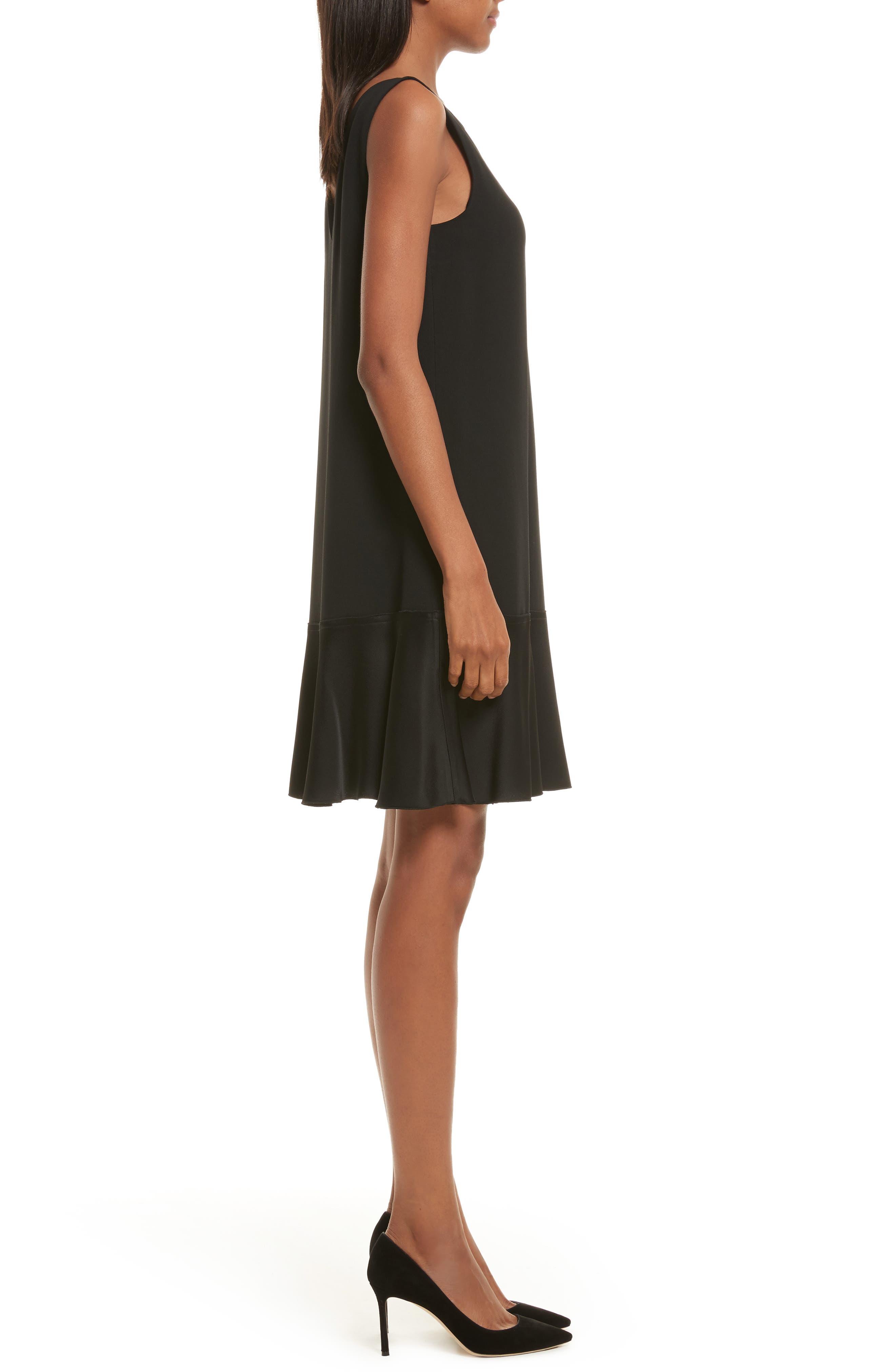 Kensington Flirty Flare Dress,                             Alternate thumbnail 3, color,                             Black