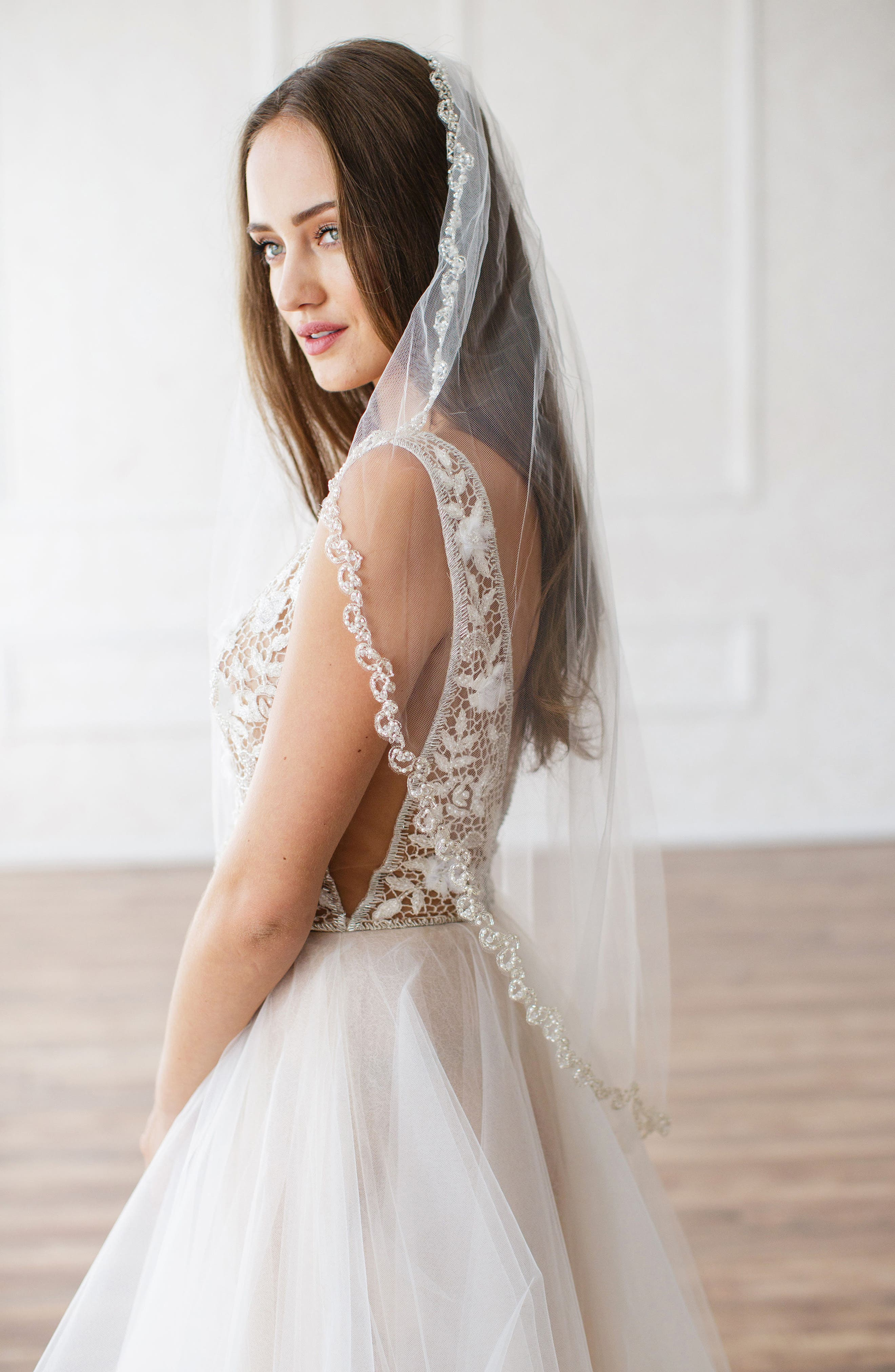 BRIDES & HAIRPINS Lydia Embellished Tulle Veil