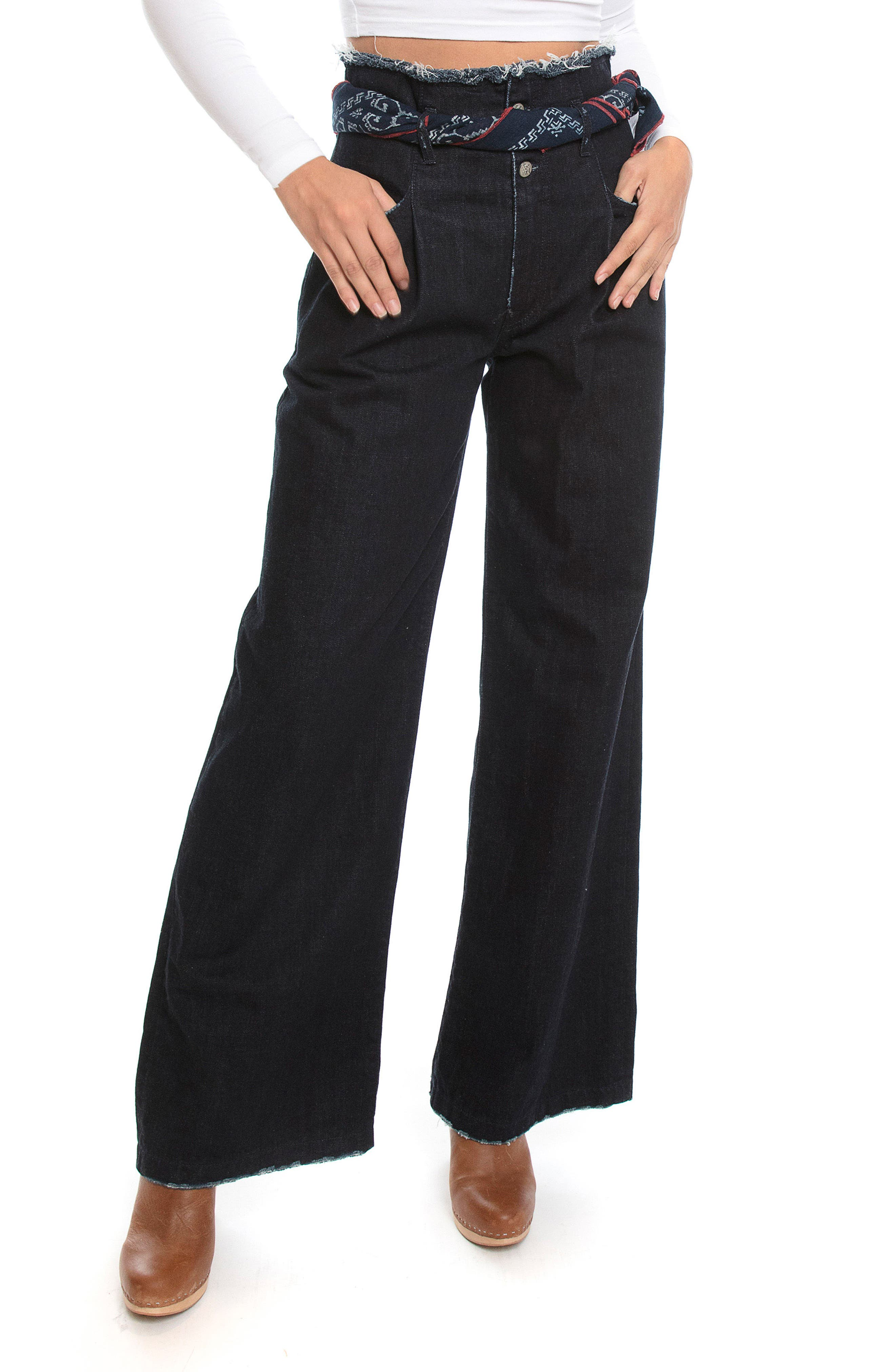 PRPS Desoto High Waist Wide Leg Jeans (Rinse)
