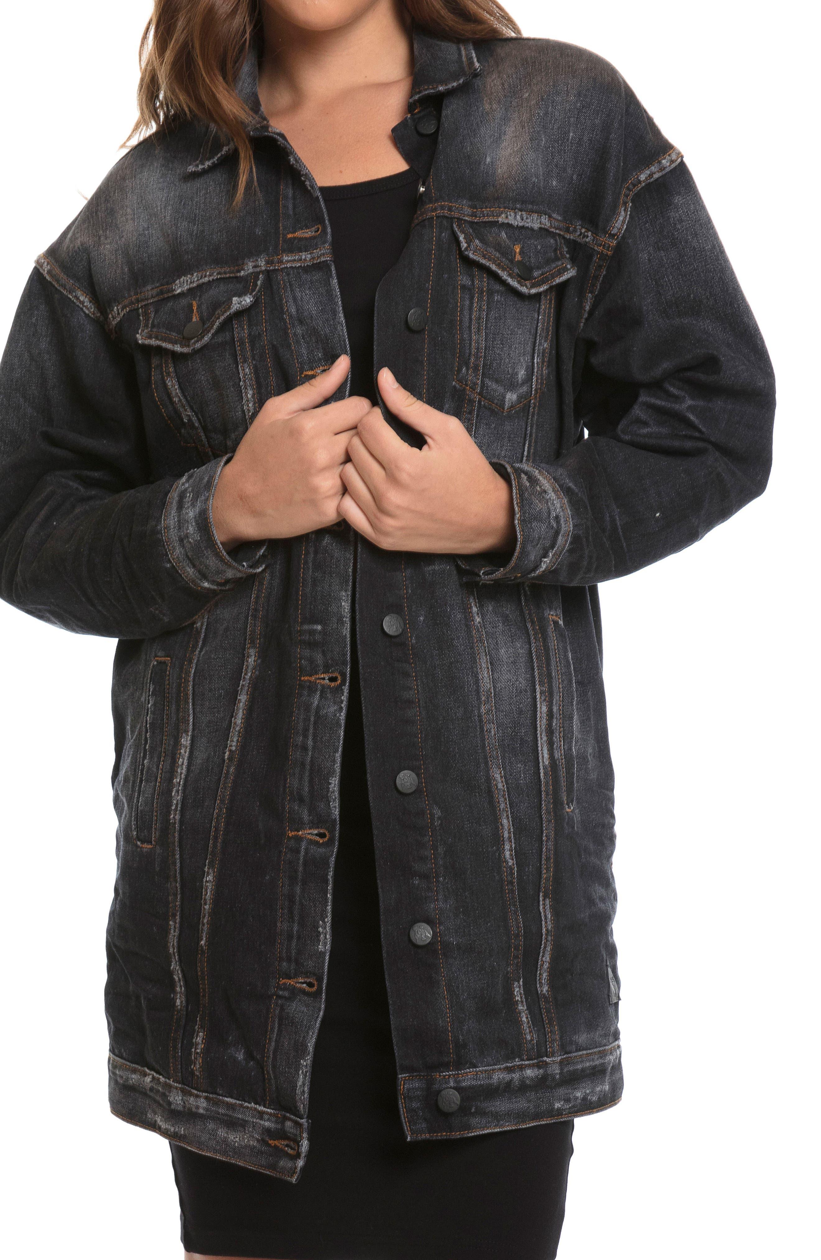 Oversize Denim Jacket,                         Main,                         color, Black