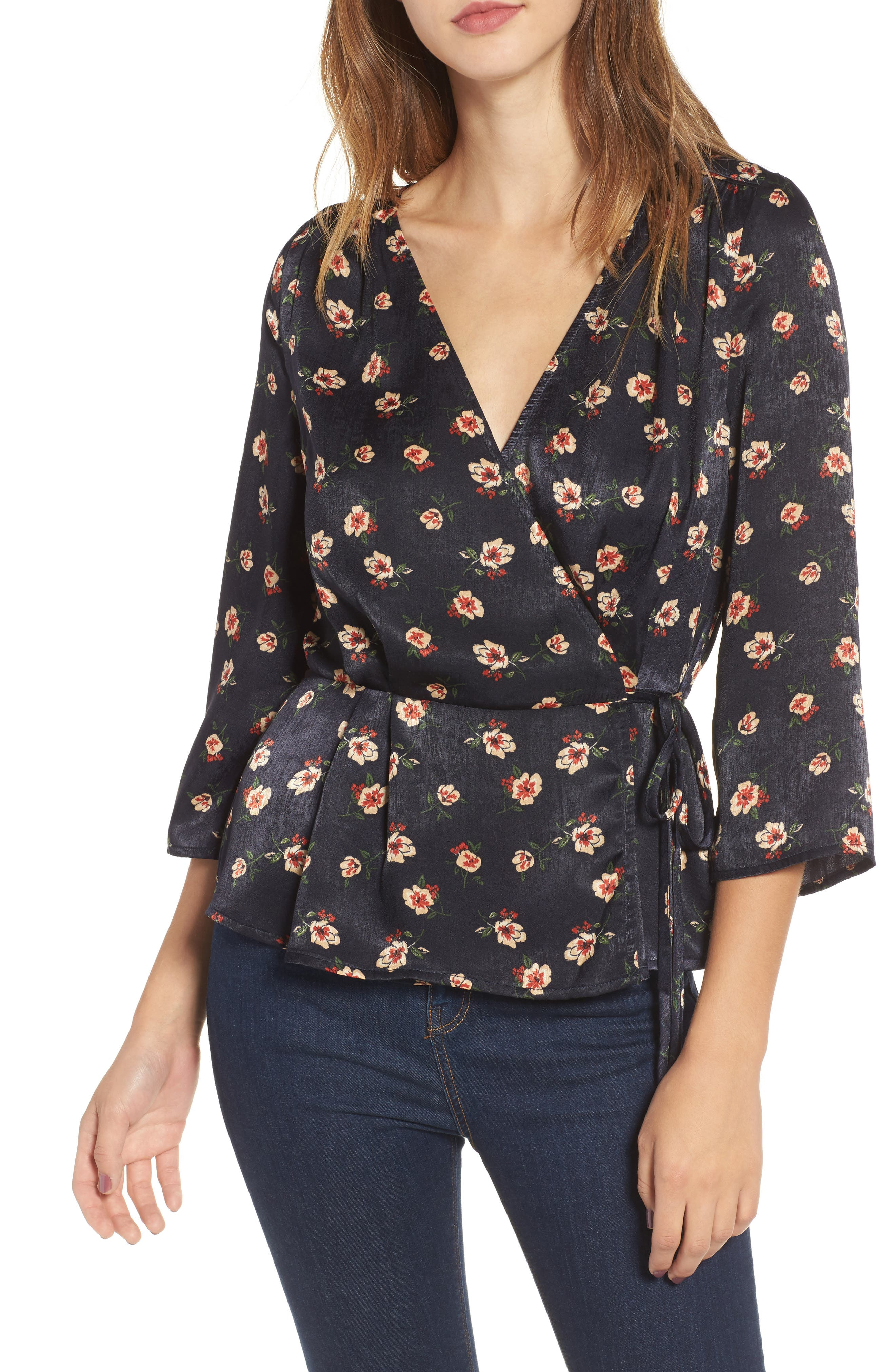 Main Image - J.O.A. Floral Wrap Top