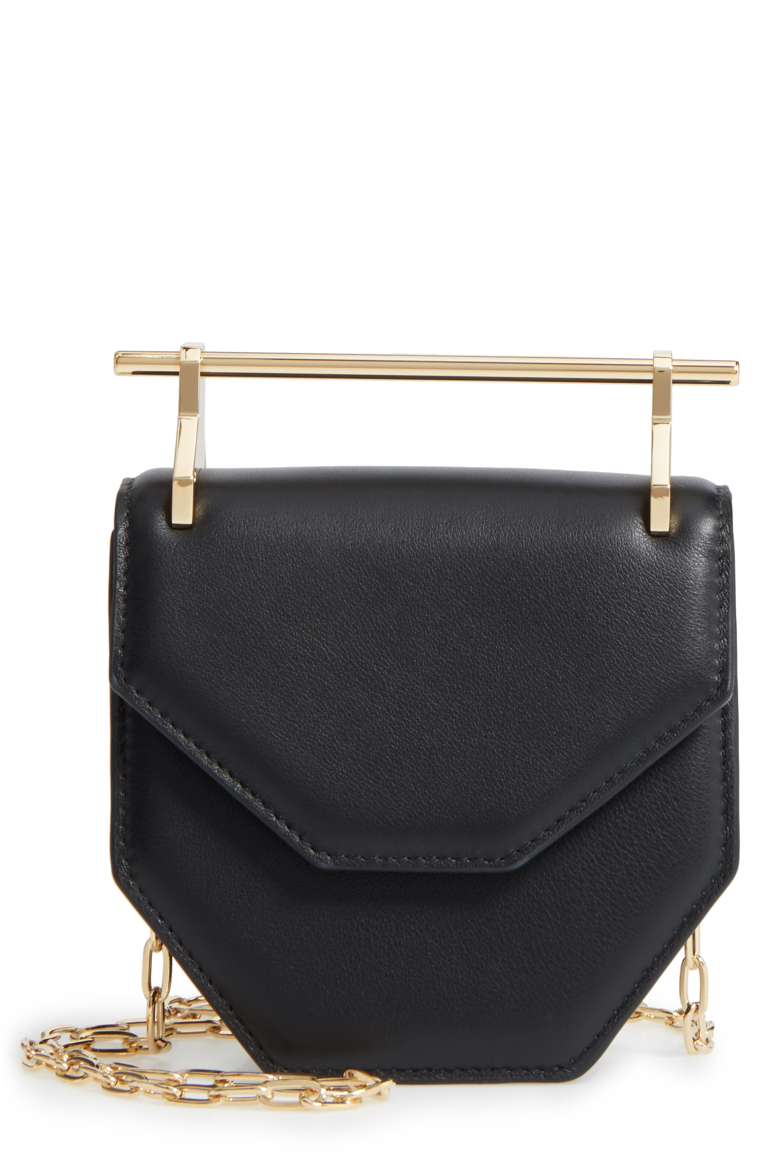 Mini Amor Fati Single Calfskin Leather Shoulder Bag,                             Main thumbnail 1, color,                             Black/ Gold