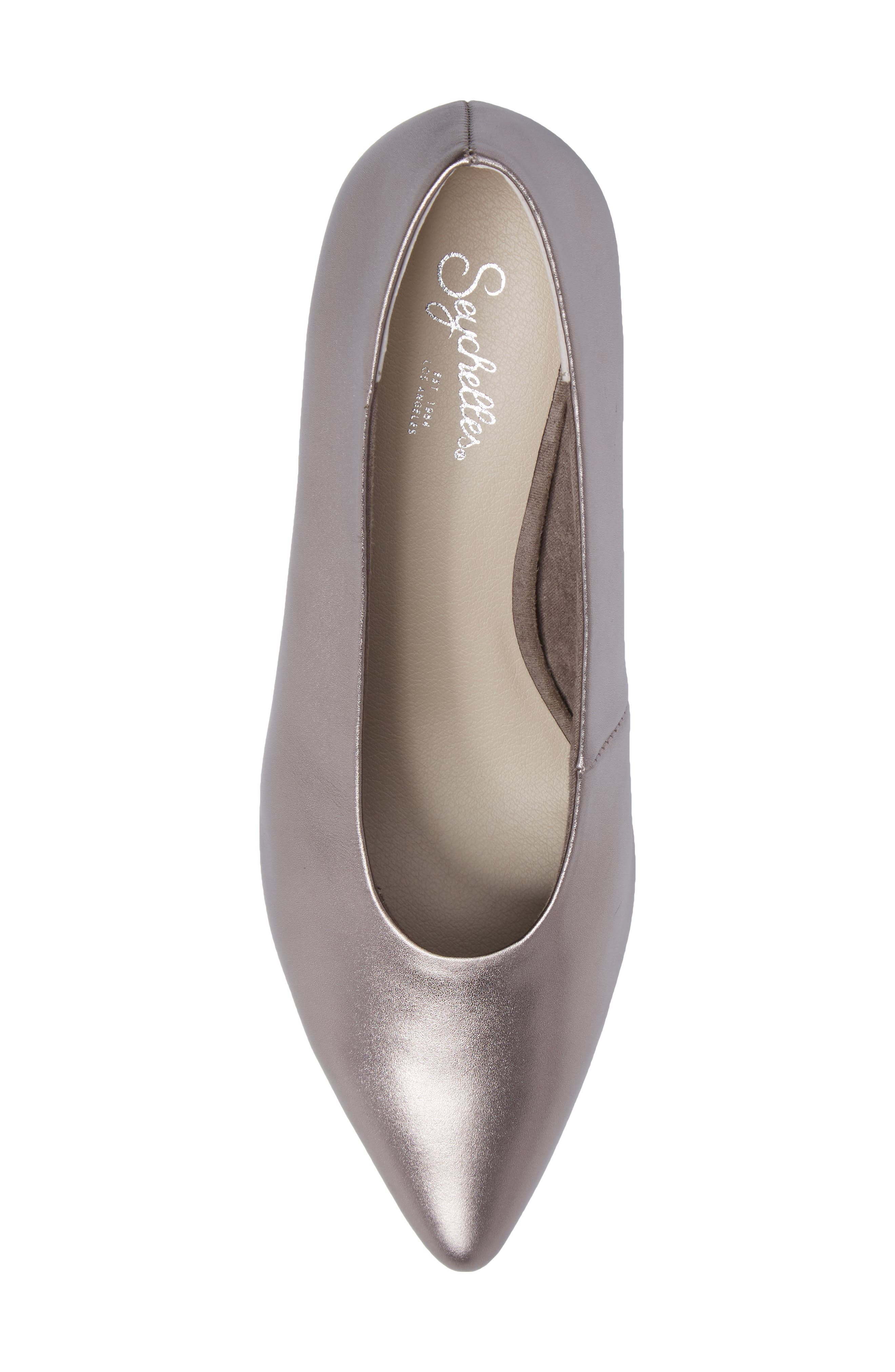 Rehearse Pointy Toe Pump,                             Alternate thumbnail 5, color,                             Pewter Leather