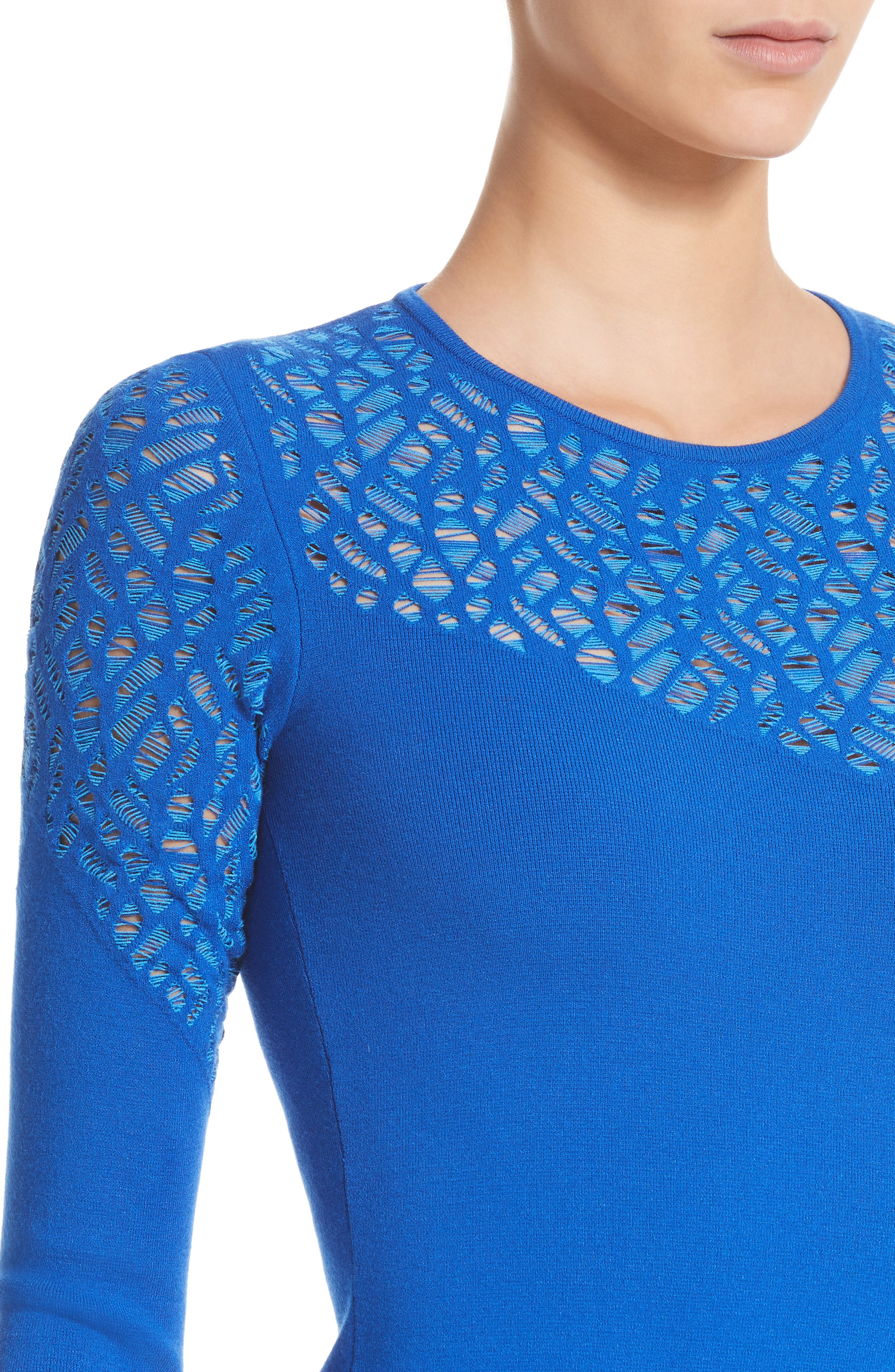 Contrast Stitch Knit Dress,                             Alternate thumbnail 4, color,                             Royal Blue/ Light Blue