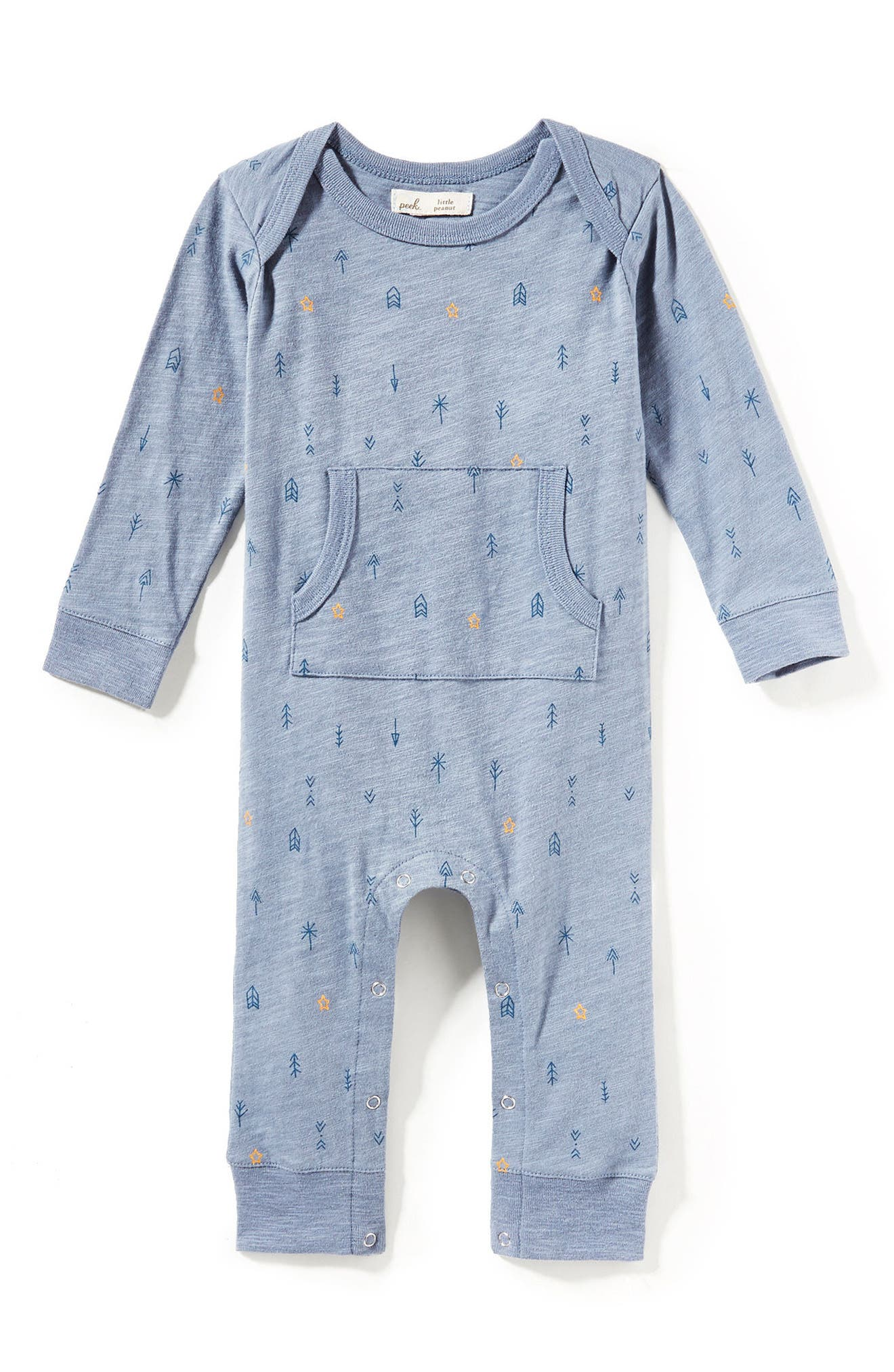 Peek Arrow Romper,                             Main thumbnail 1, color,                             Steel Blue