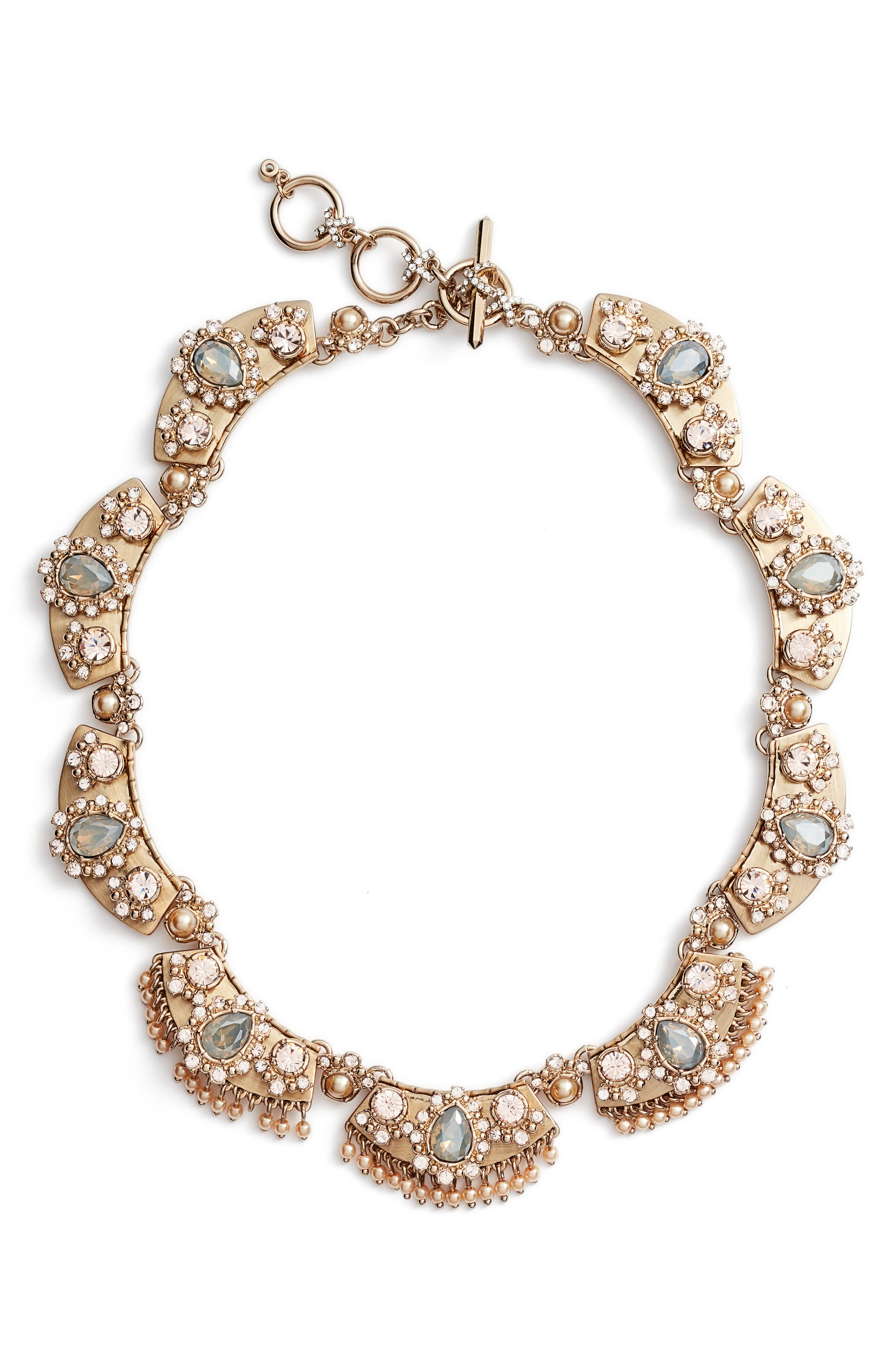Crystal Collar Necklace,                             Main thumbnail 1, color,                             Gold/ Grey Multi
