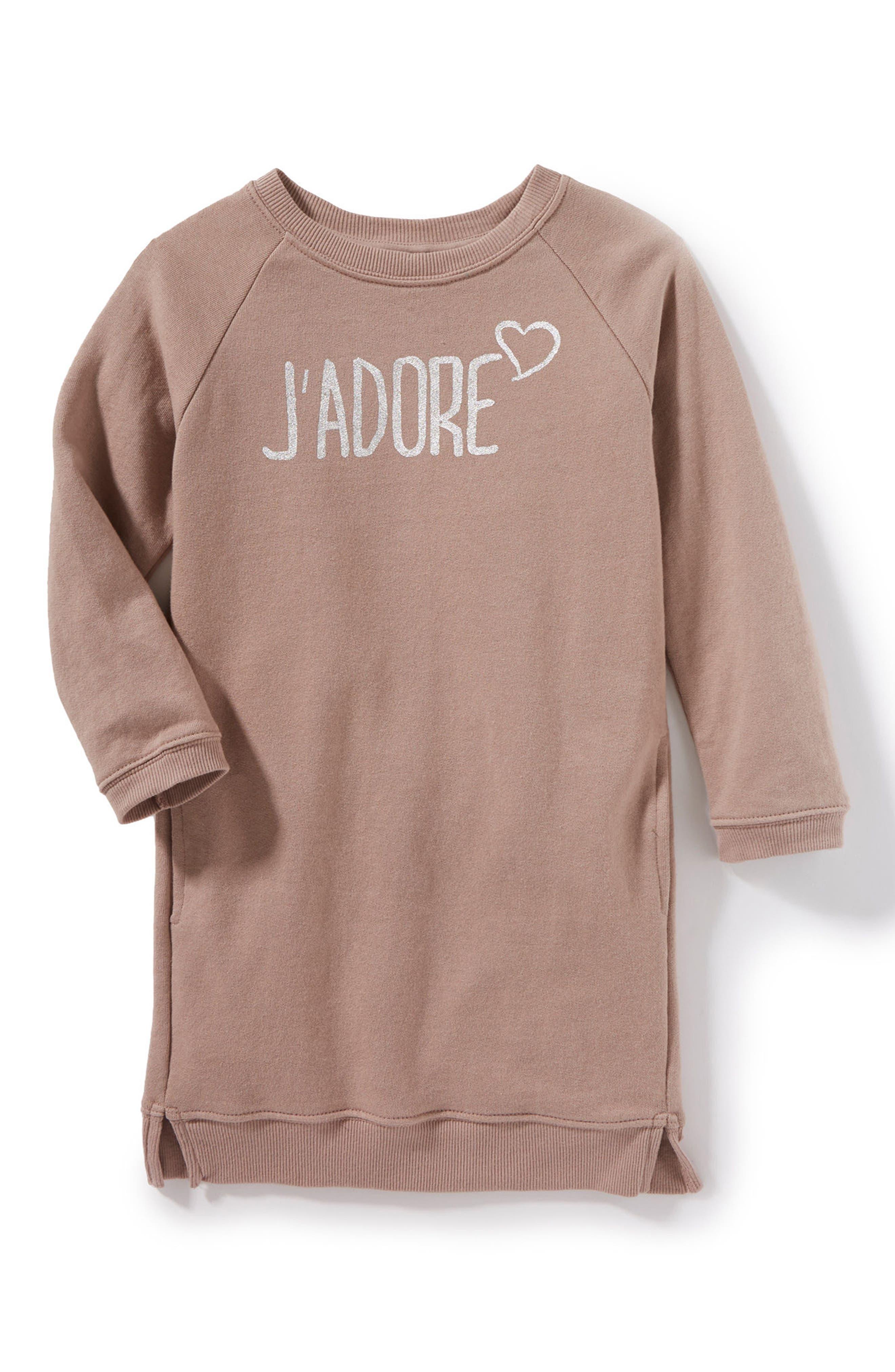 Peek J'Adore Sweatshirt Dress (Toddler Girls, Little Girls & Big Girls)