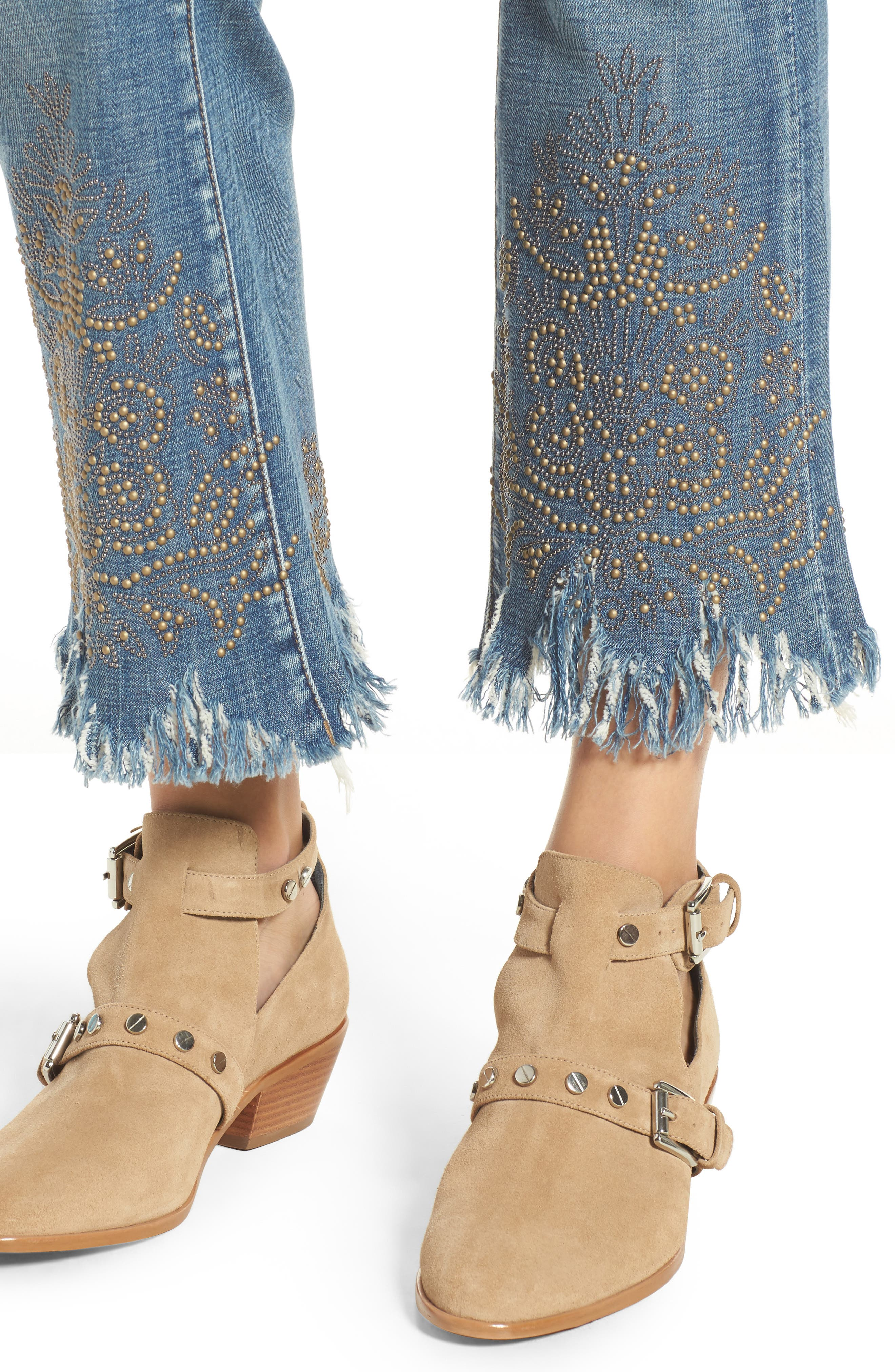 Studded Crop Flare Jeans,                             Alternate thumbnail 4, color,                             Miss Matched Blue