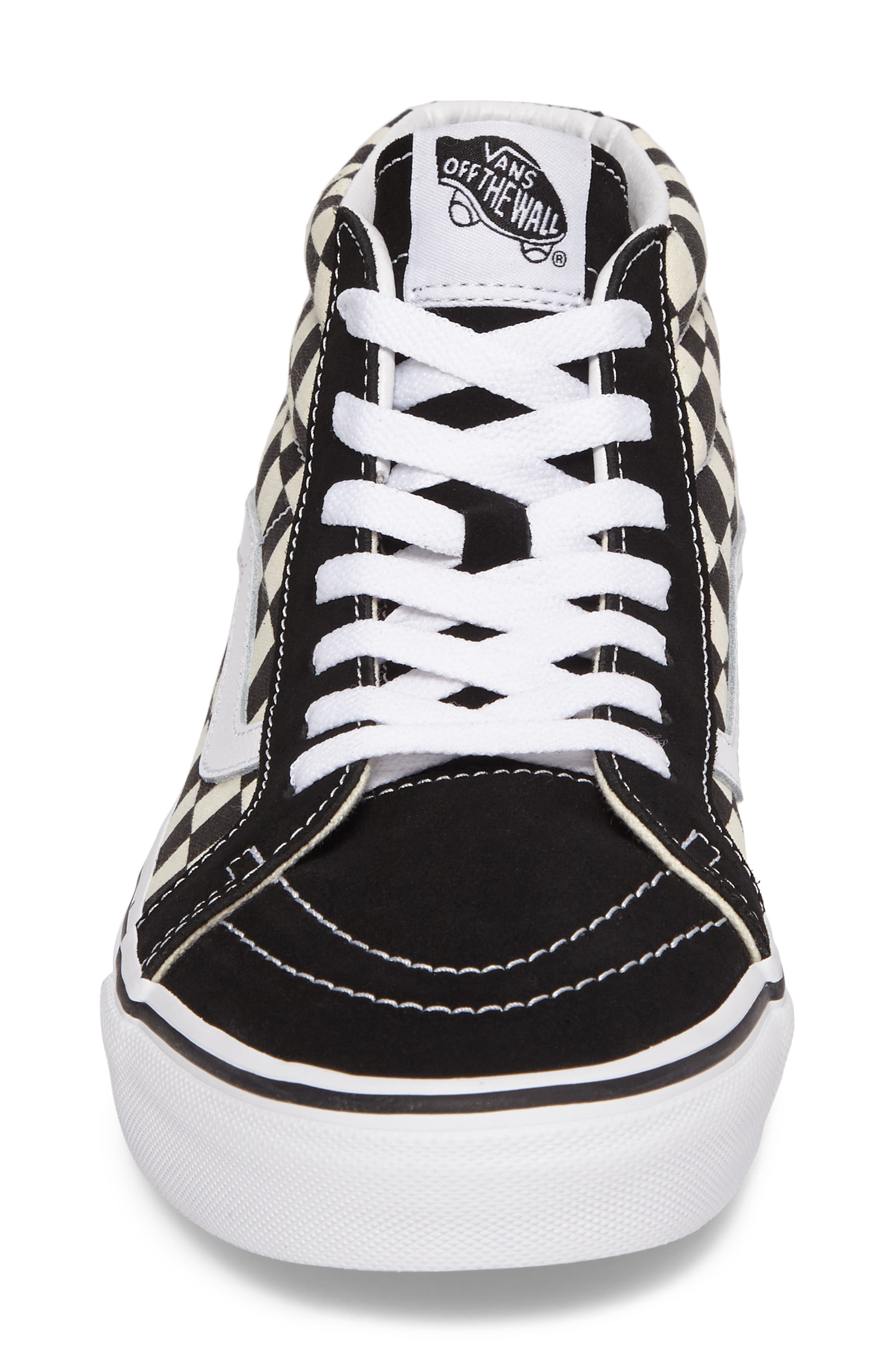 Sk8-Mid Reissue Sneaker,                             Alternate thumbnail 4, color,                             White Checker Canvas/ Suede