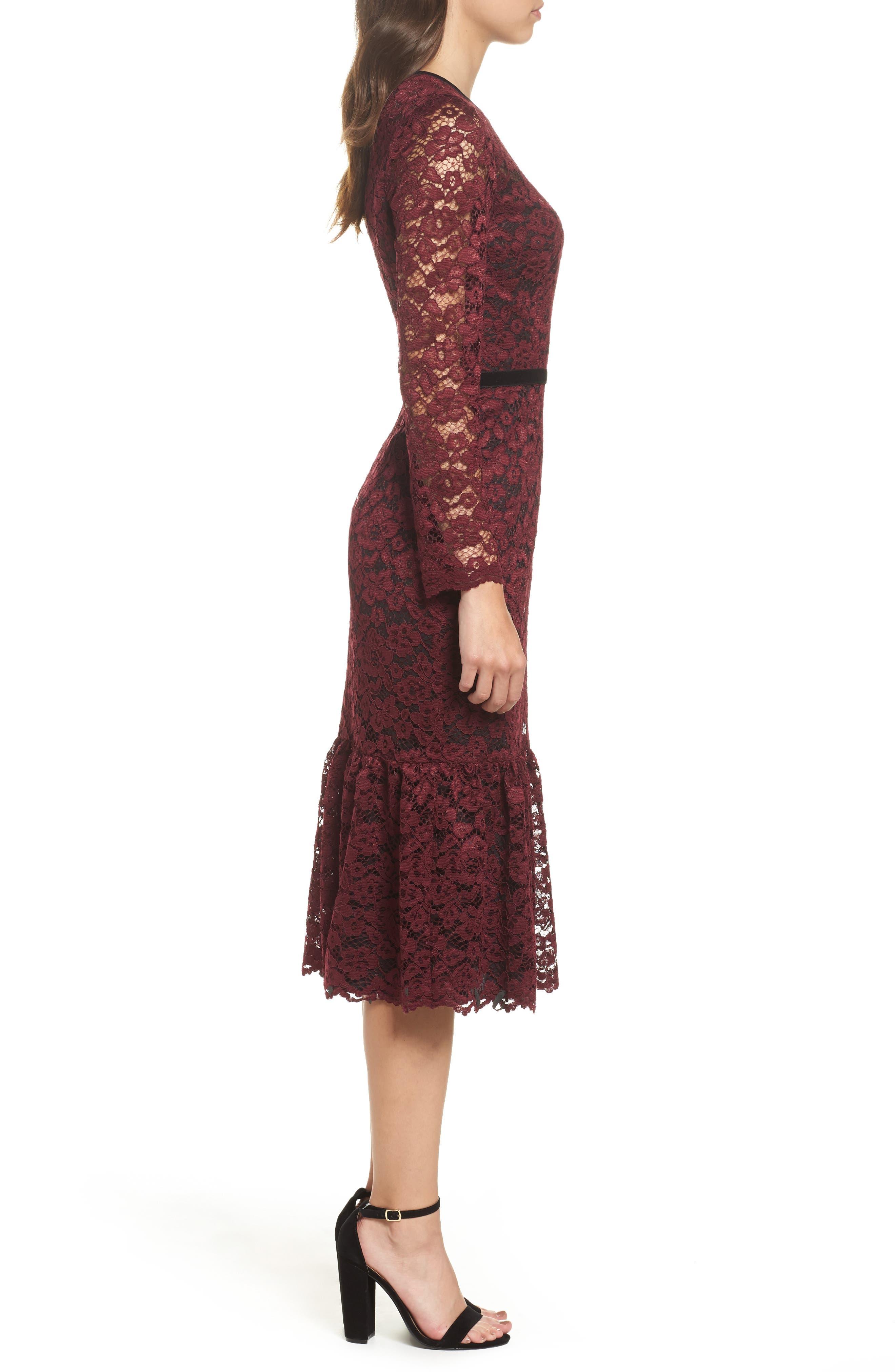 Lace Midi Dress,                             Alternate thumbnail 4, color,                             Plum Wine