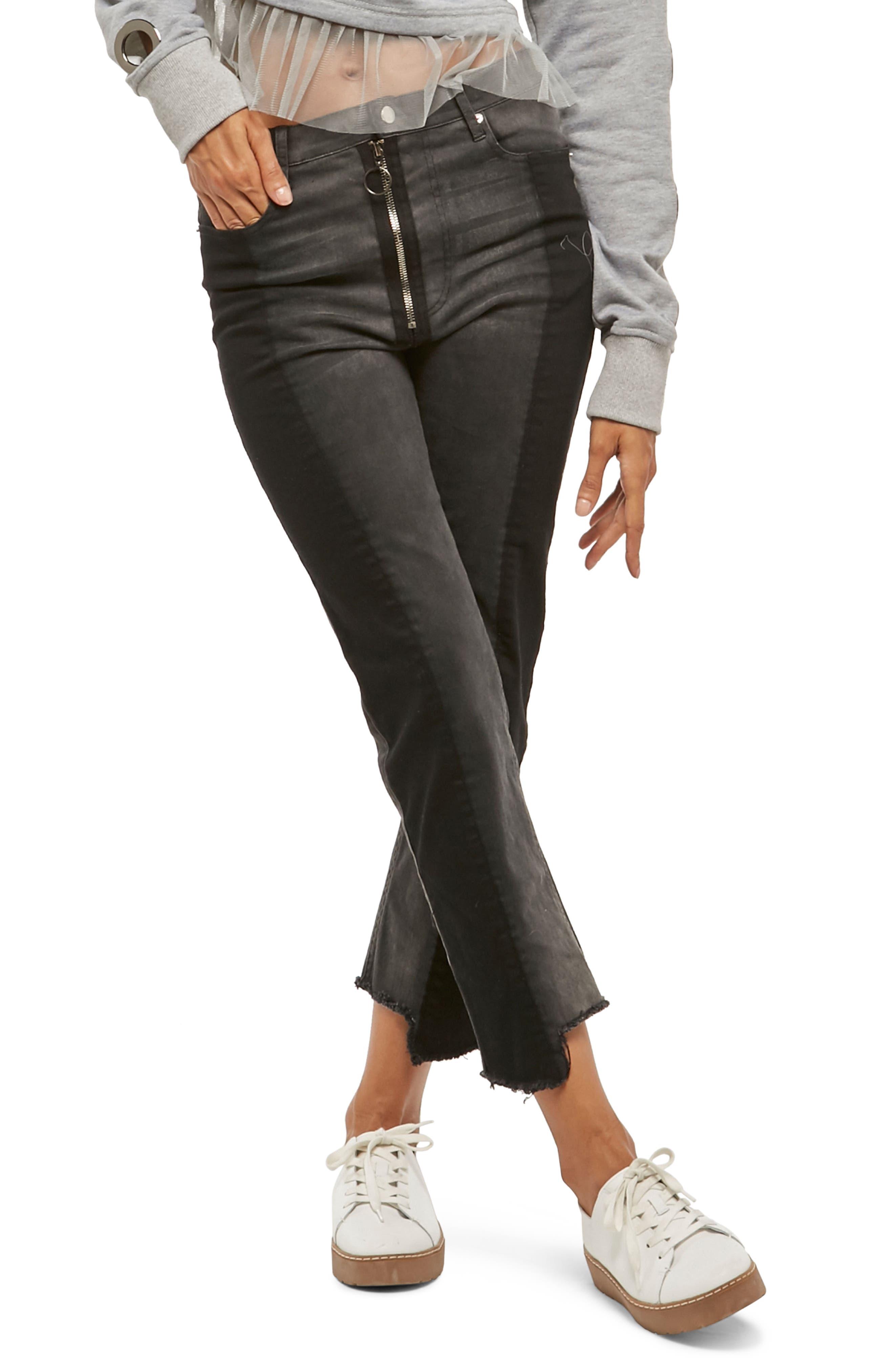 Alpha & Omega Two-Tone Crop Jeans,                         Main,                         color, Black