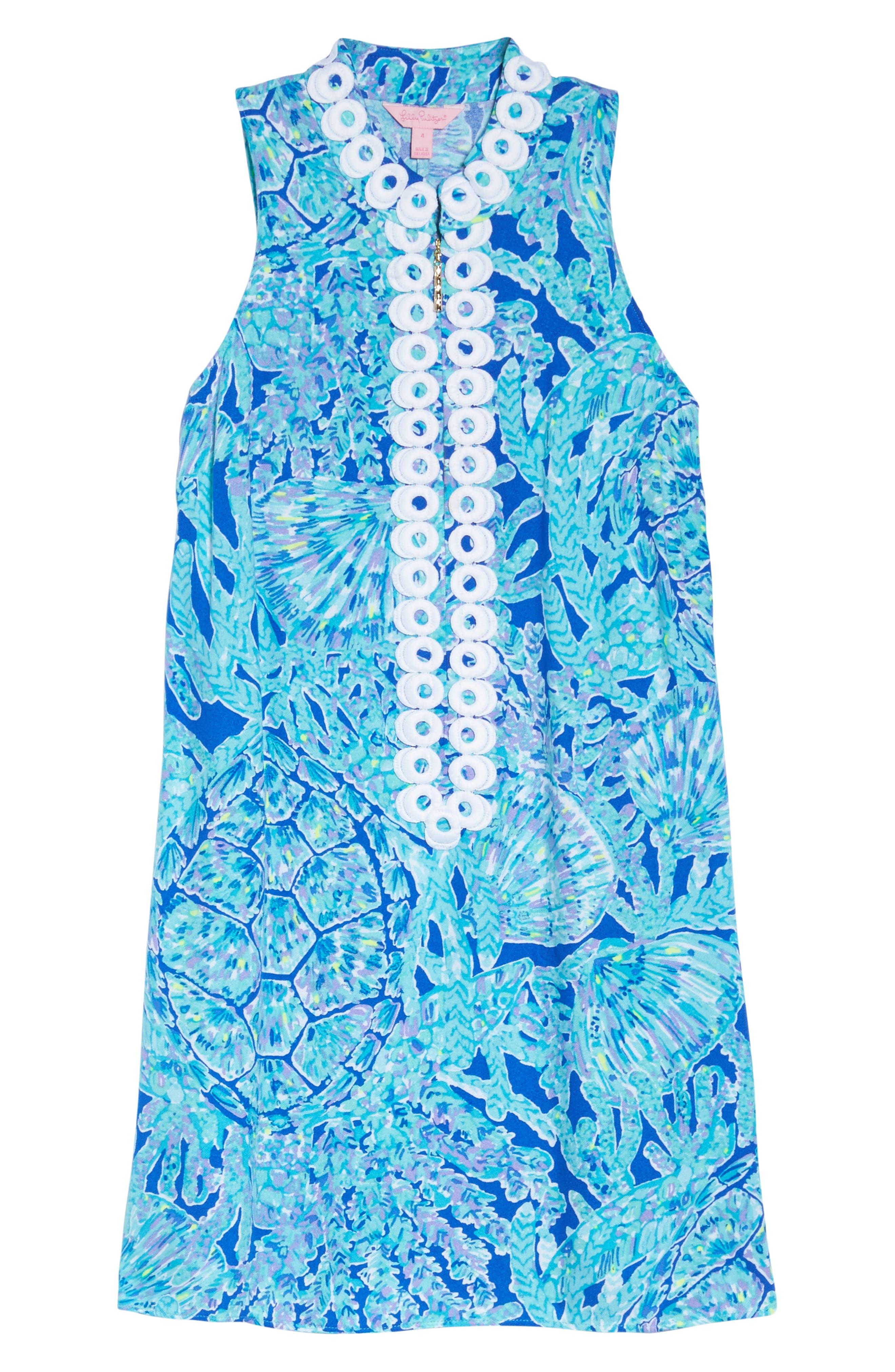 Jane Shift Dress,                             Alternate thumbnail 6, color,                             Capri Teal Tortuga Time