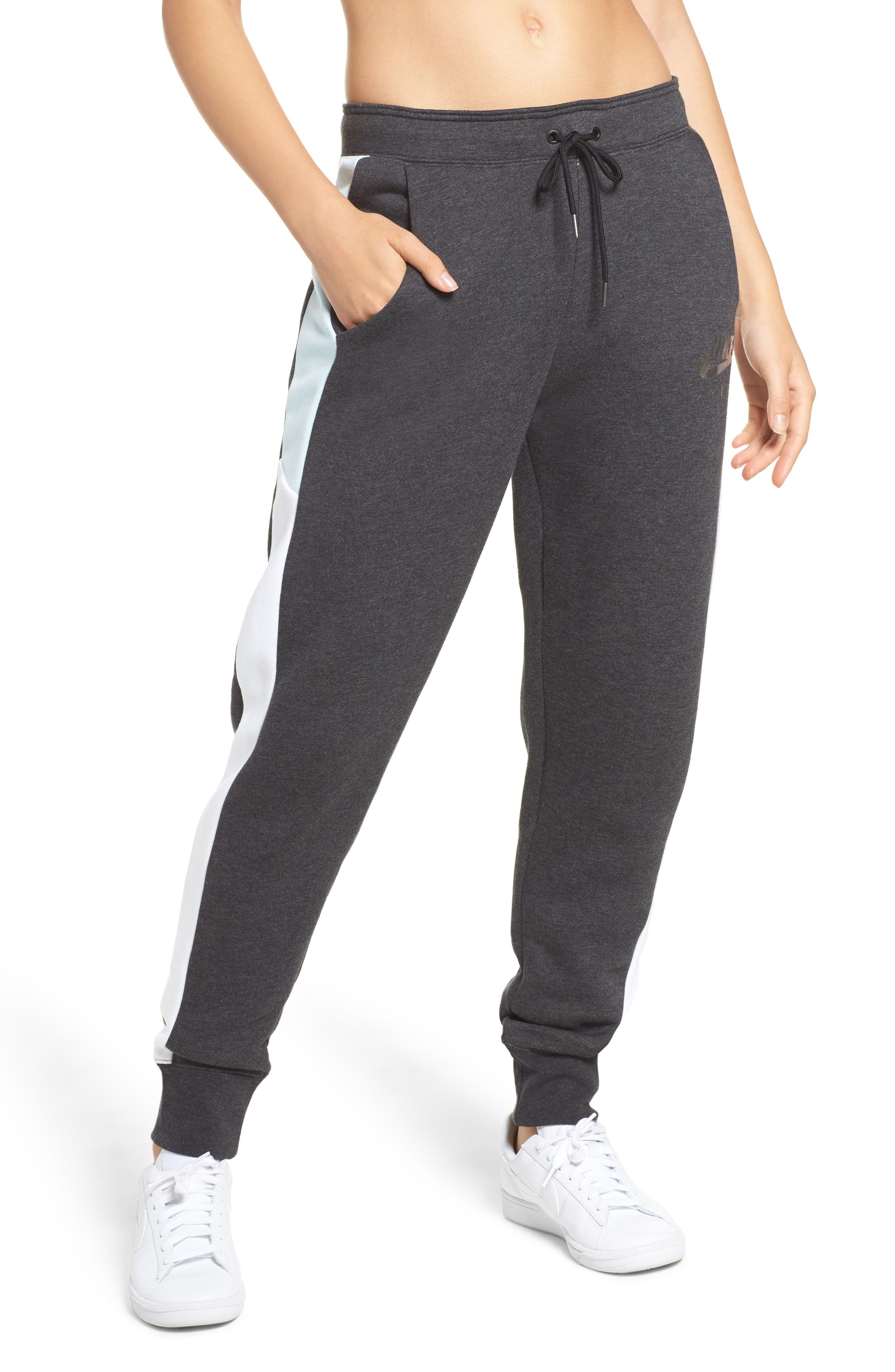 Rally Sweatpants,                         Main,                         color, Black Htr/ White/ Glacier Blue