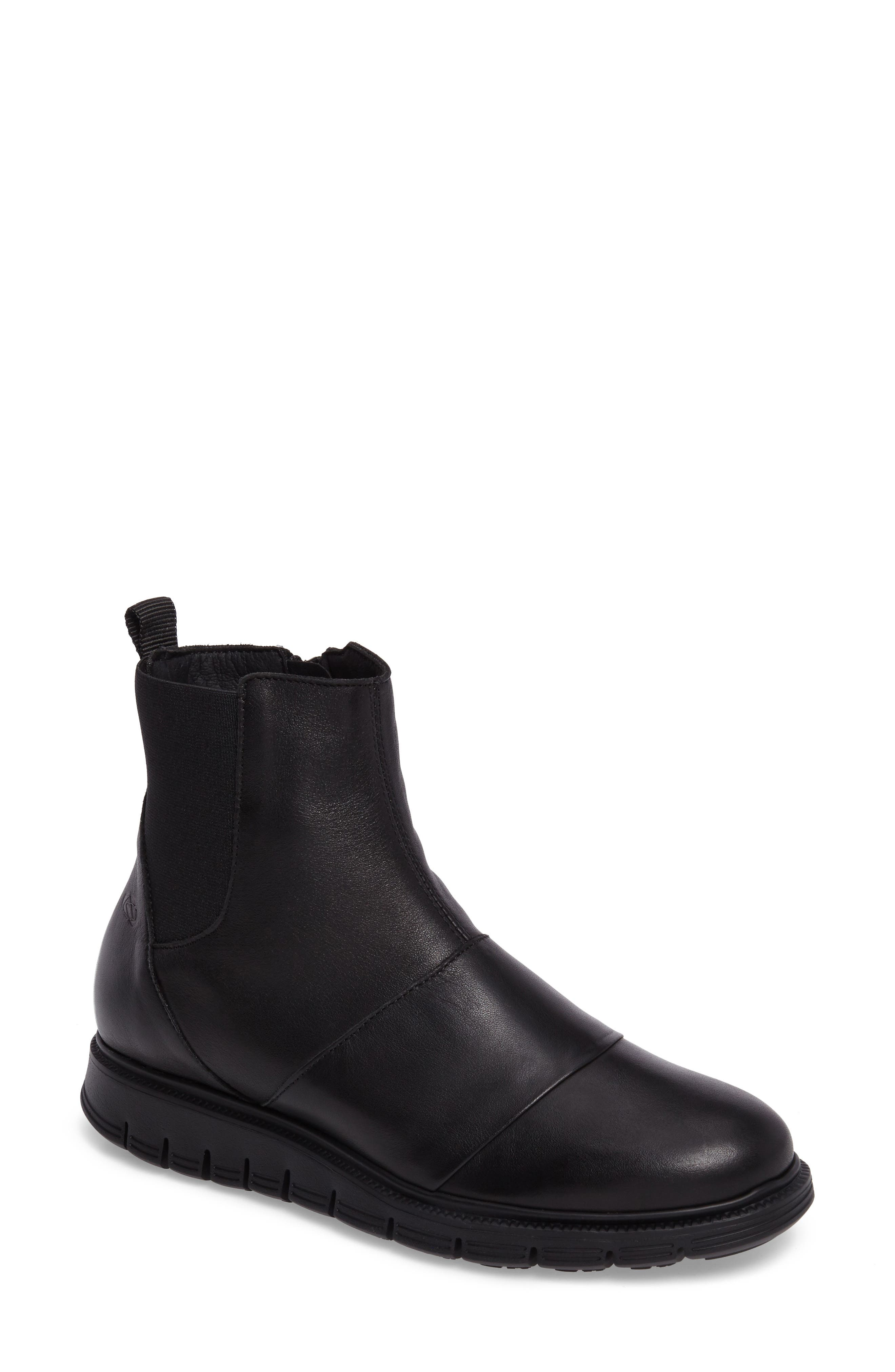 Gish Water-Resistant Bootie,                             Main thumbnail 1, color,                             Black Leather