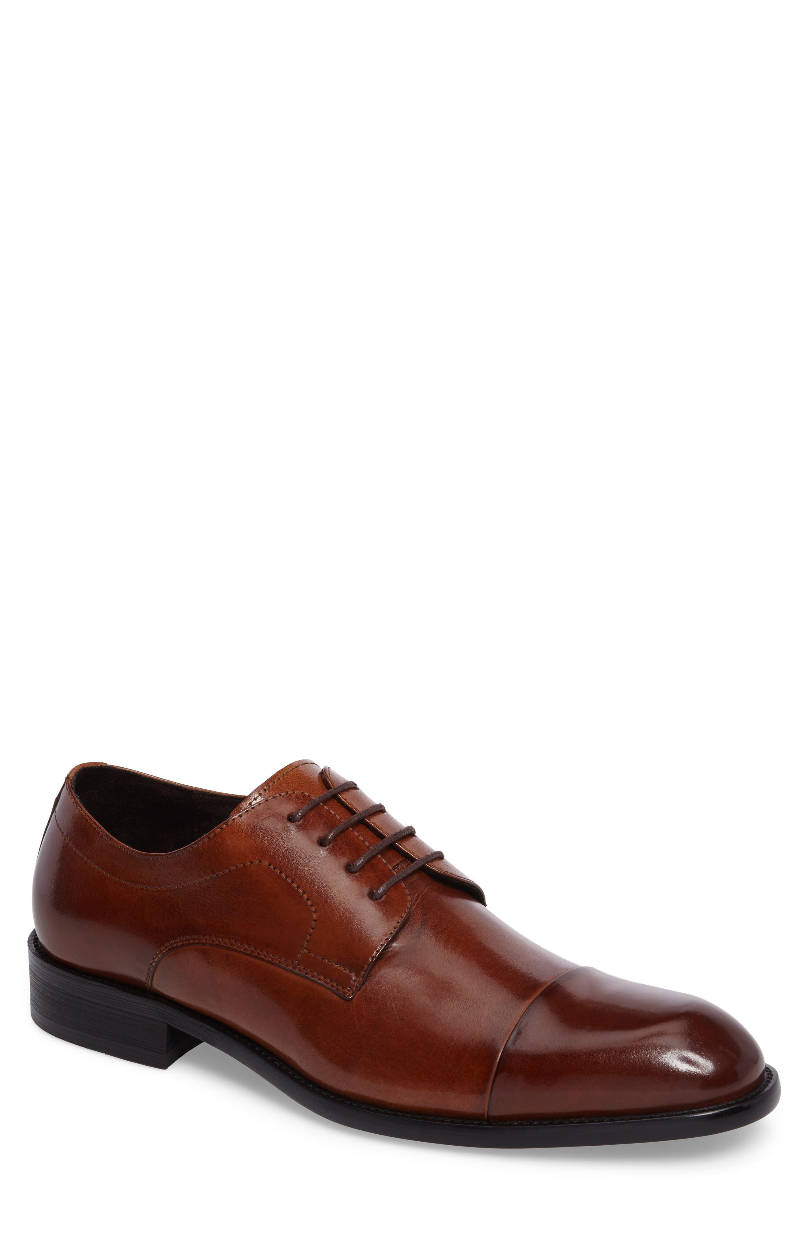 Cap Toe Derby,                         Main,                         color, Brandy Leather
