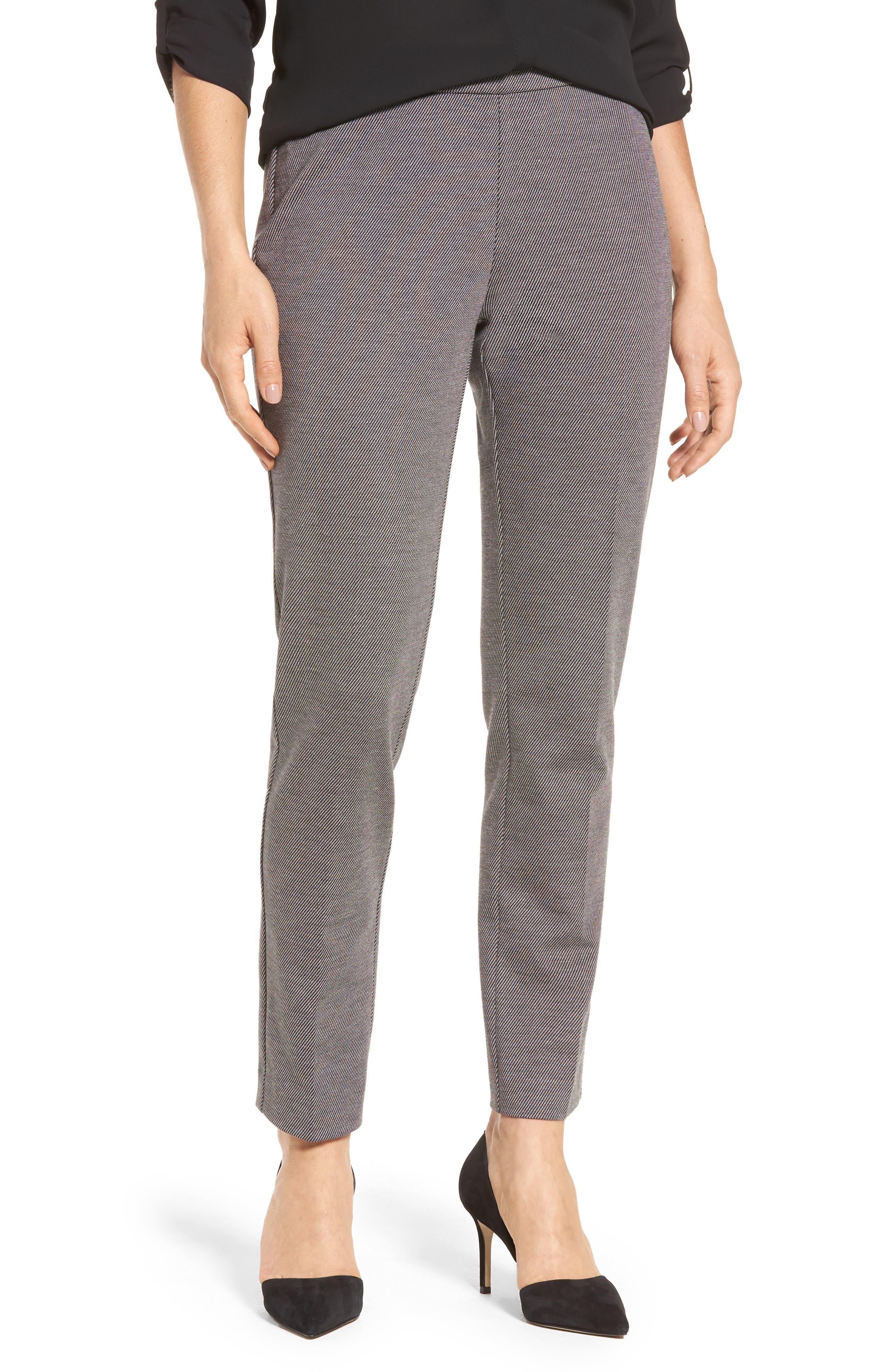 Slim Twill Ponte Knit Pants,                         Main,                         color, Rich Black
