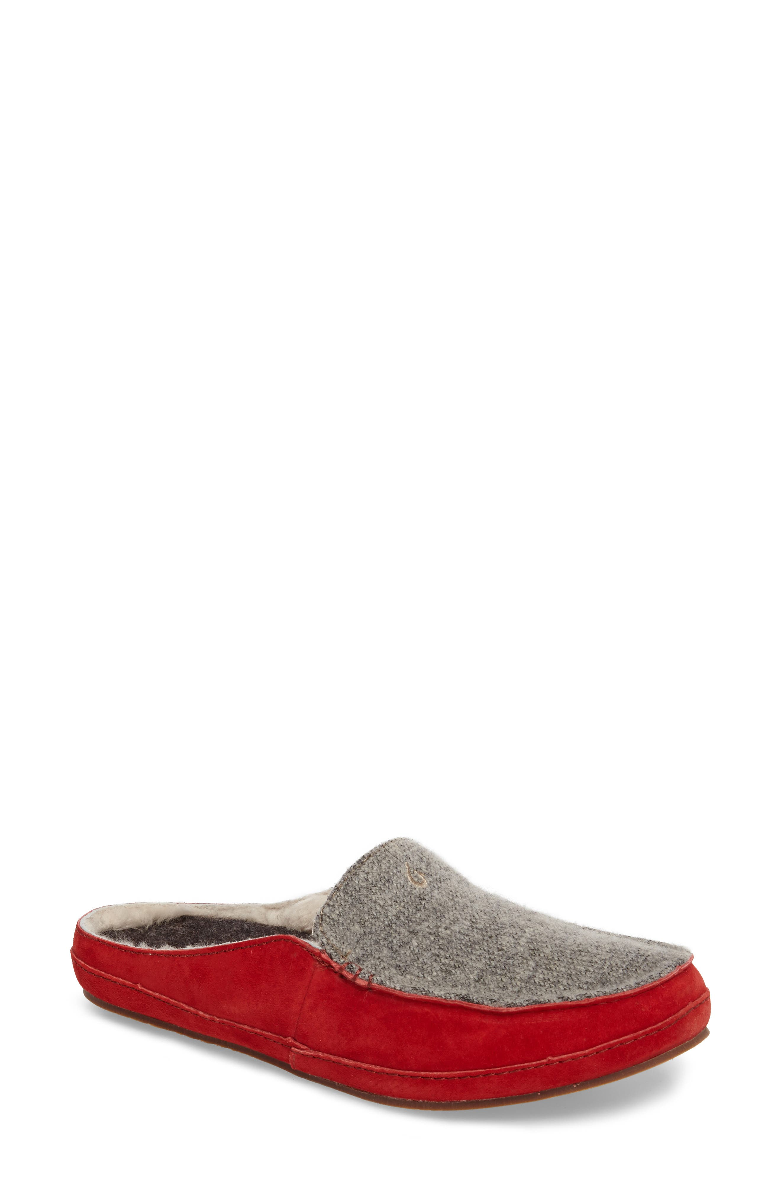 Alaula Genuine Shearling Lined Slipper,                             Main thumbnail 1, color,                             Cooler Grey/ Red Mud Leather