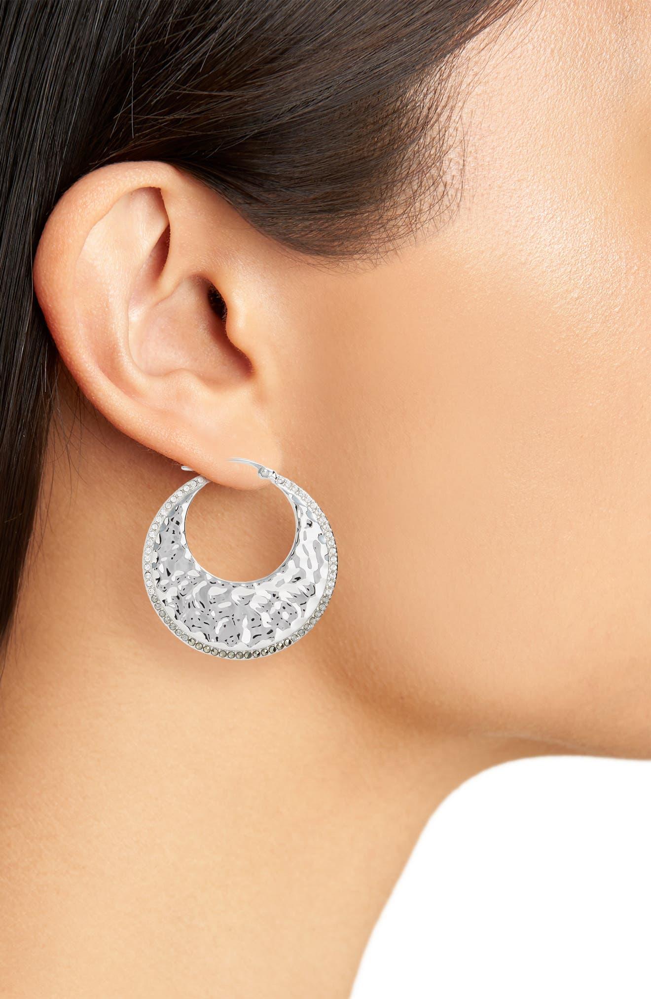 Hammered Hoop Earrings,                             Alternate thumbnail 2, color,                             Silver